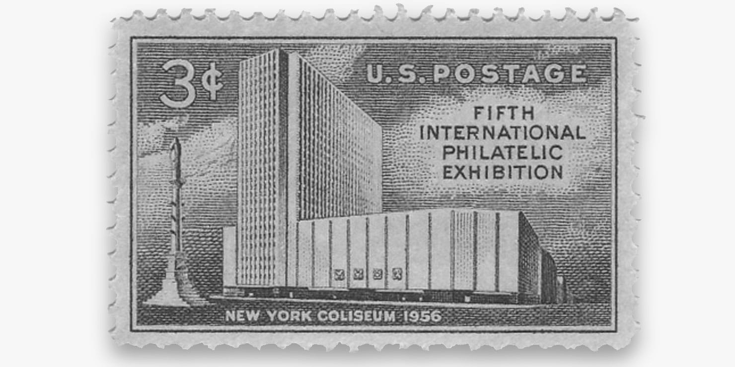 Stamp from 1956 with illustration of New York Coliseum on it