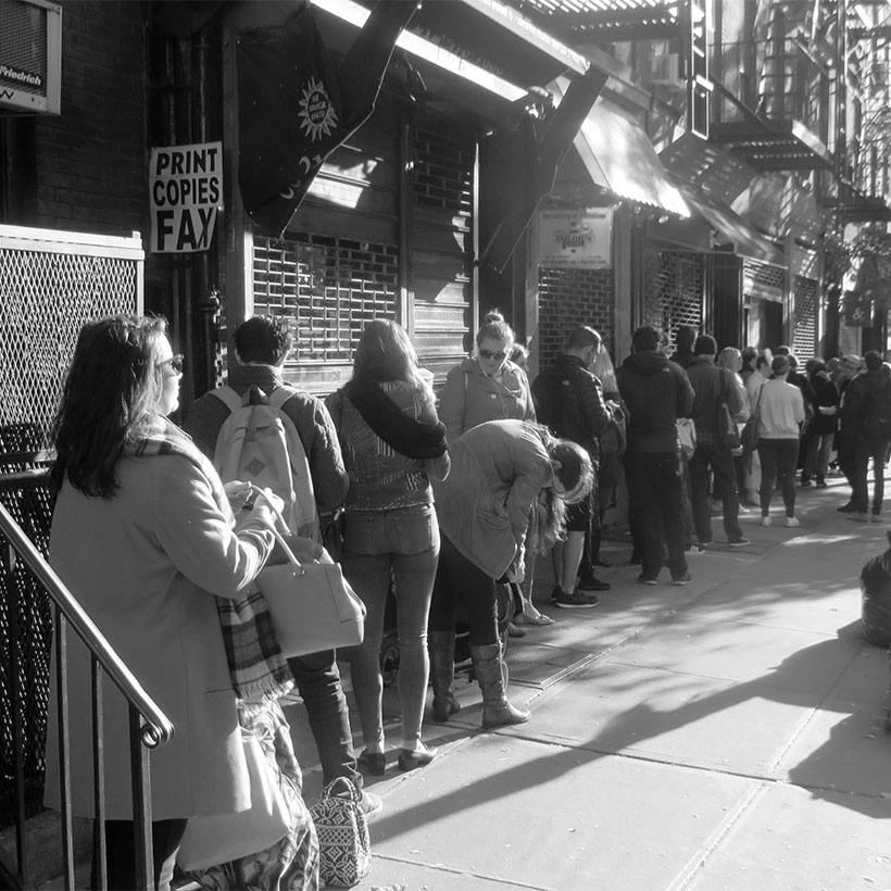 New Yorkers line up to vote on East 10th Street in Manhattan in November of 2016. Photo: Wikimedia Commons, Janine and Jim Eden.