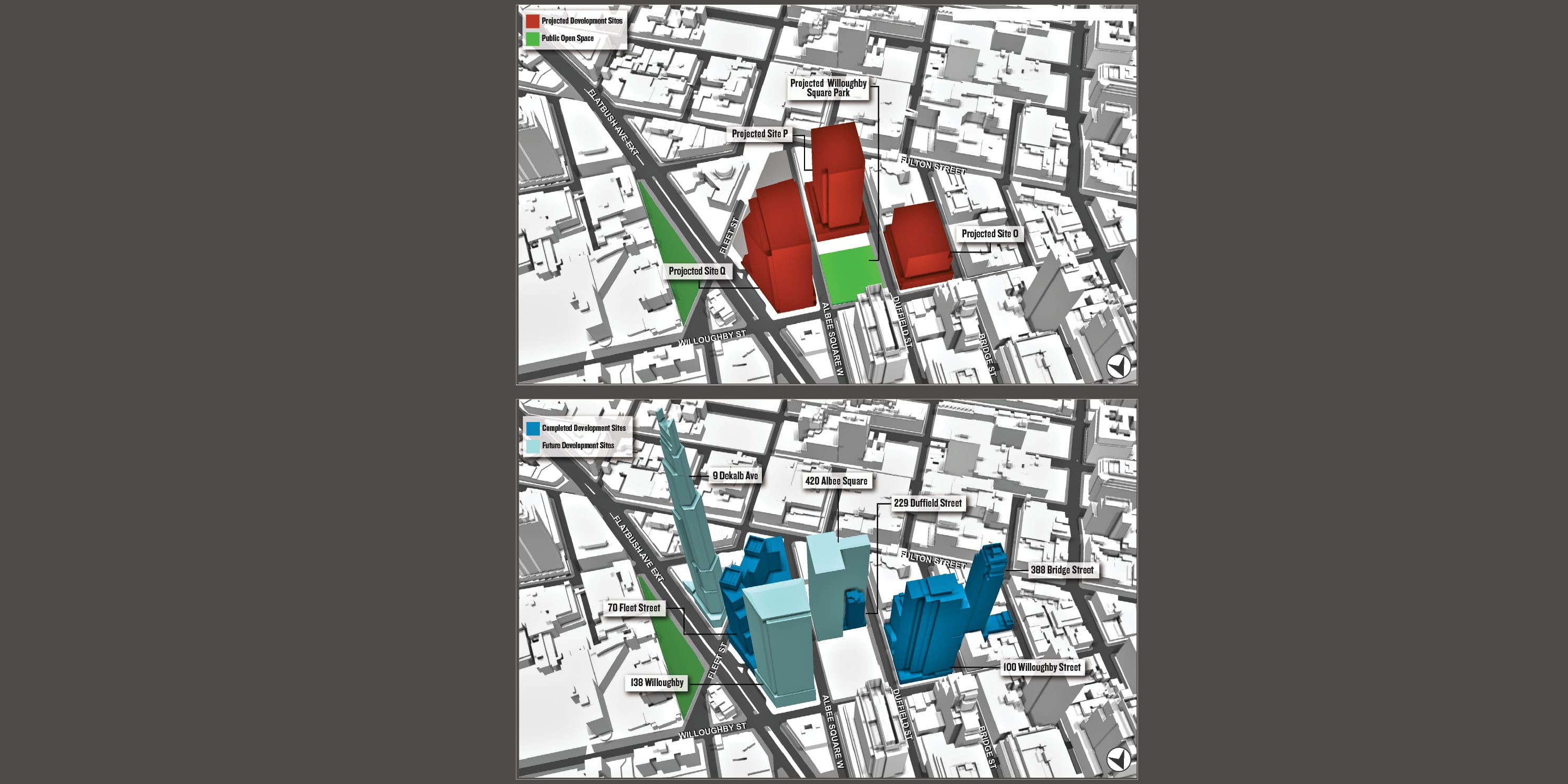 map of proposed versus actual development in Downtown Brooklyn