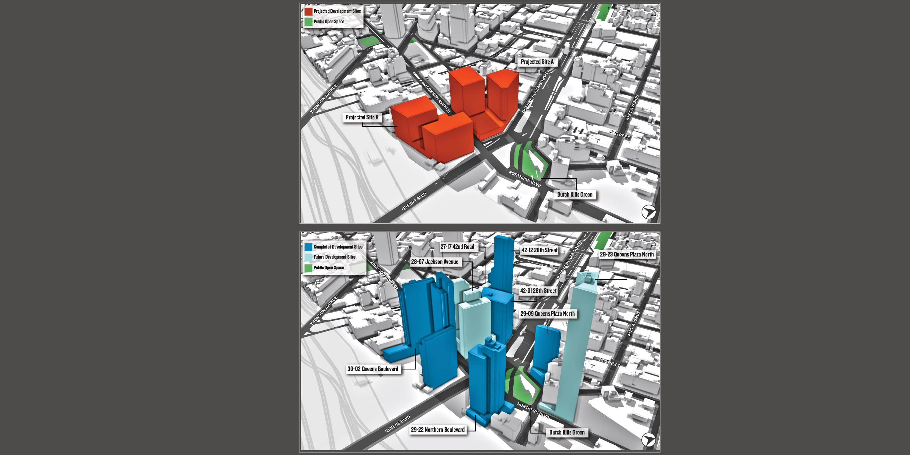 map of projected versus actual development in Long Island City