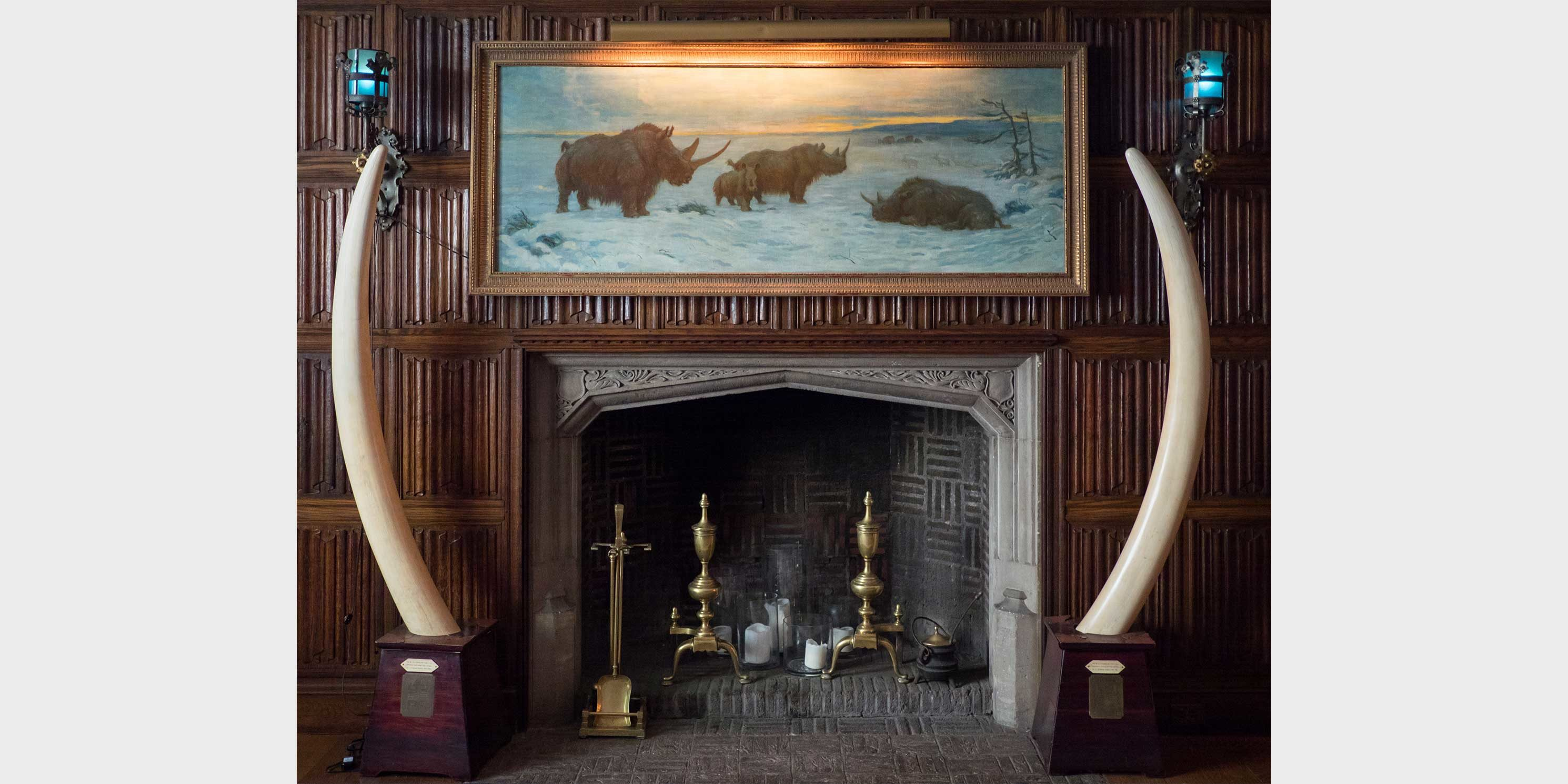 fireplace at the Explorers Club