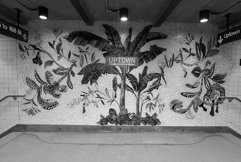 tile mural in subway station