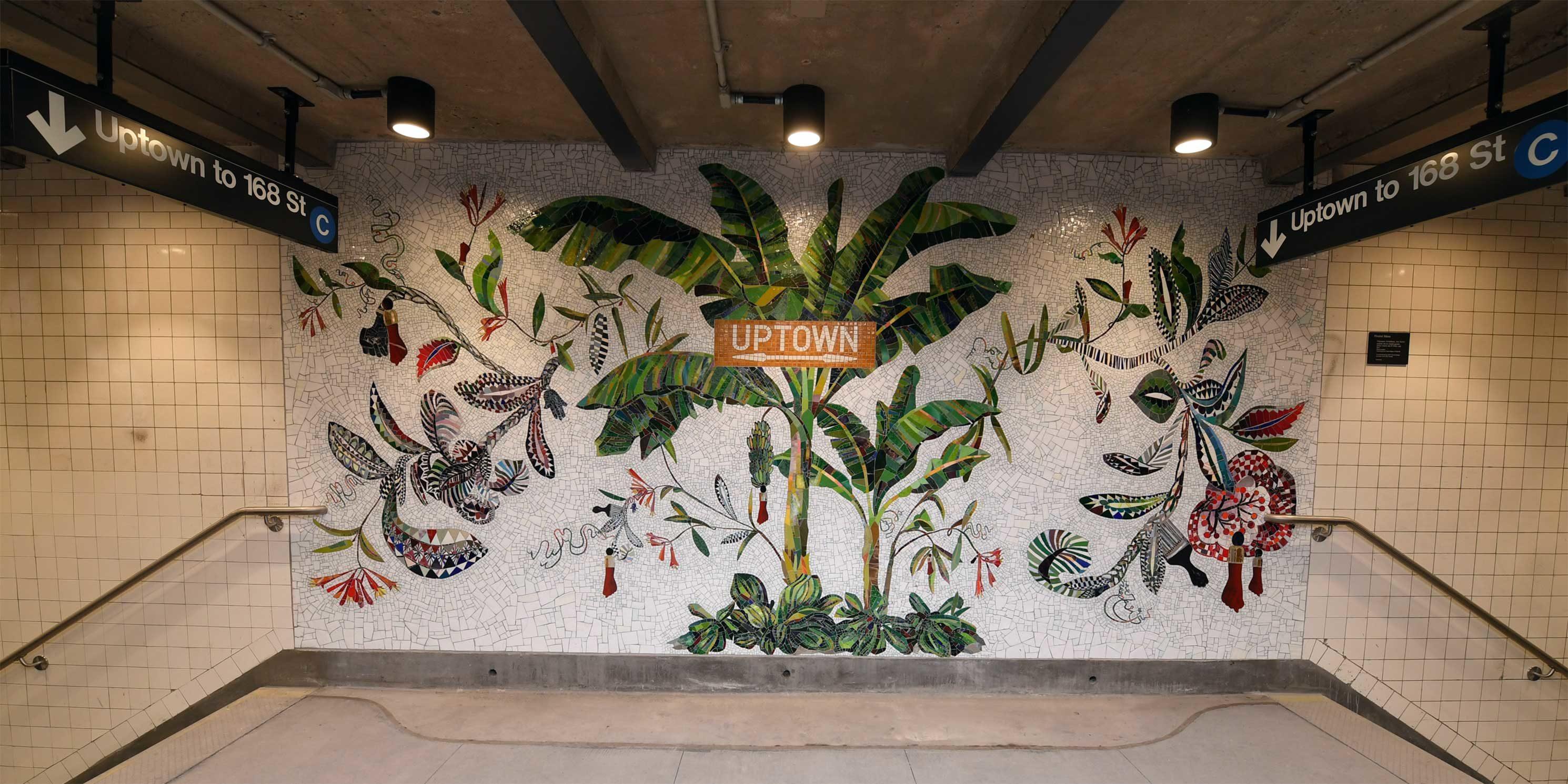 tile mural in subway station