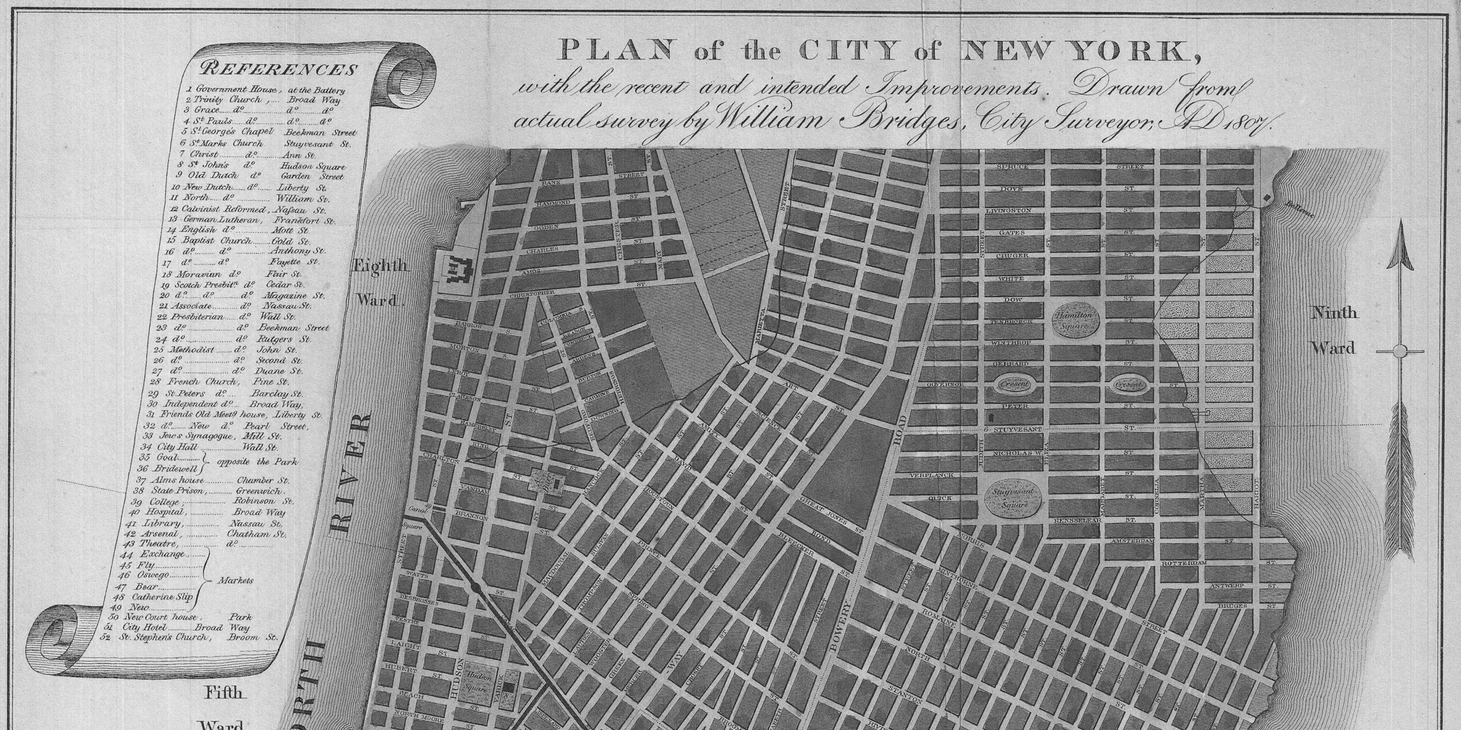 map of proposed bridges in Manhattan, 1807
