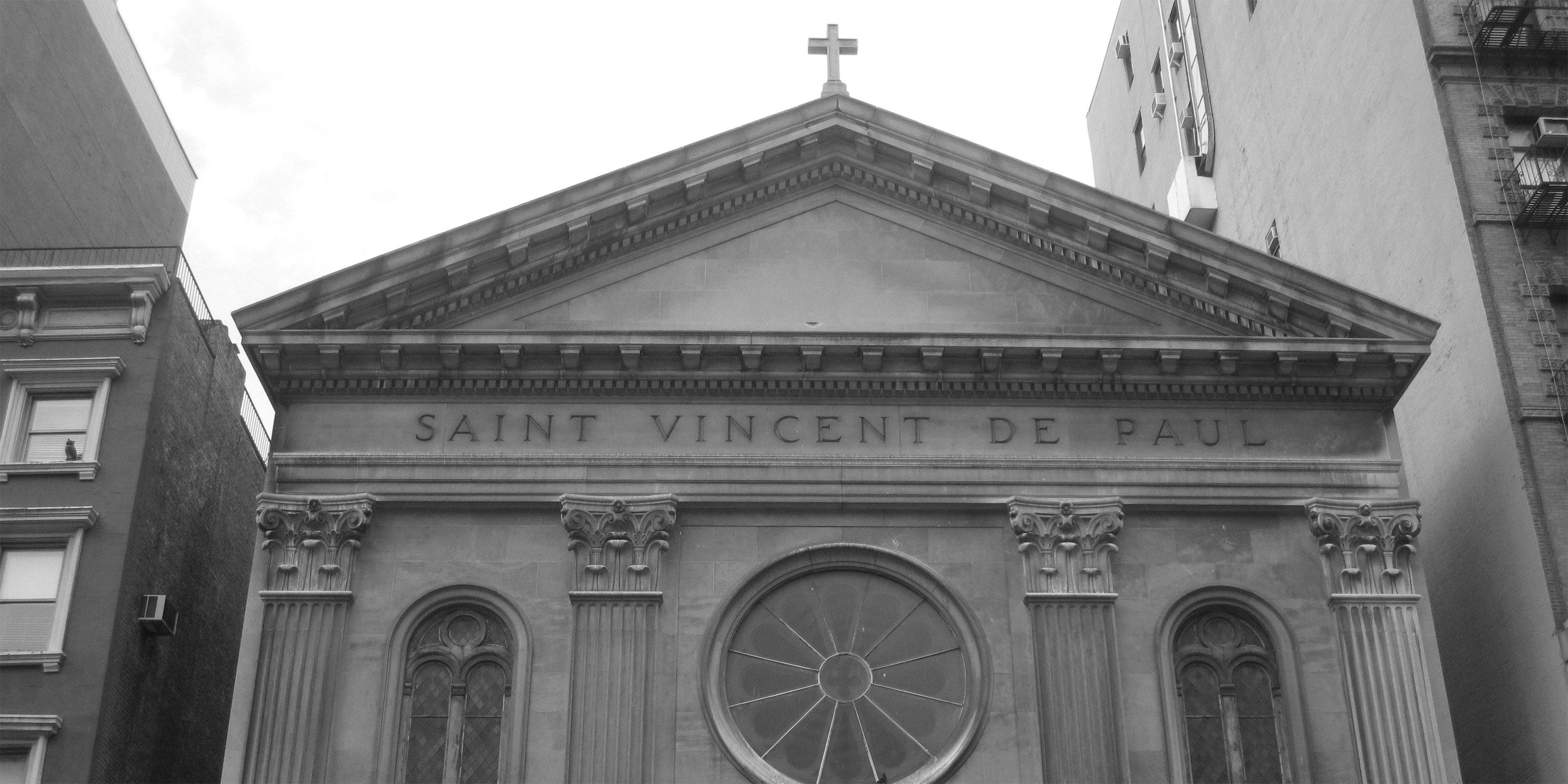 exterior of Saint Vincent de Paul Catholic Church
