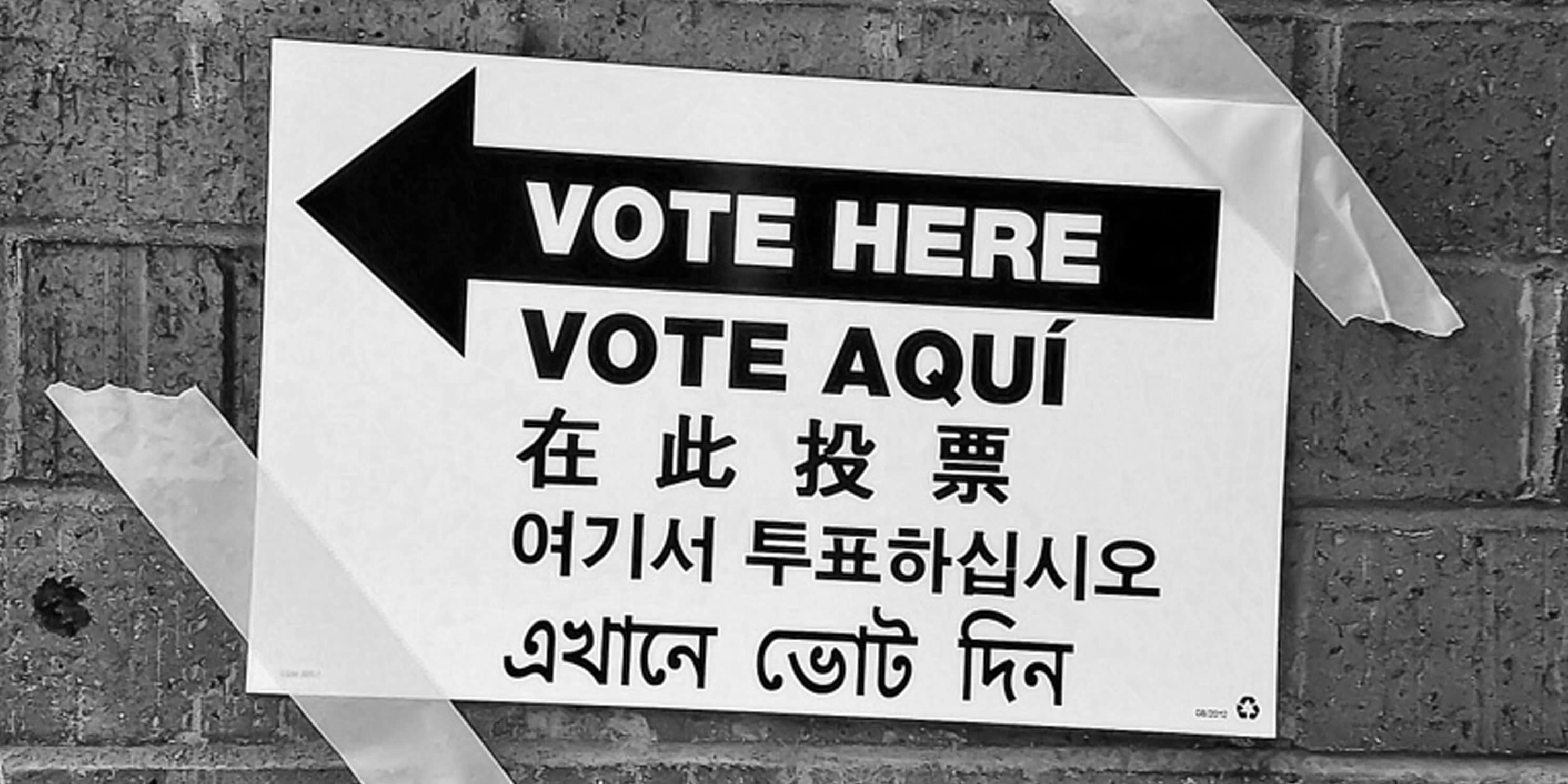 vote here sign in multiple languages