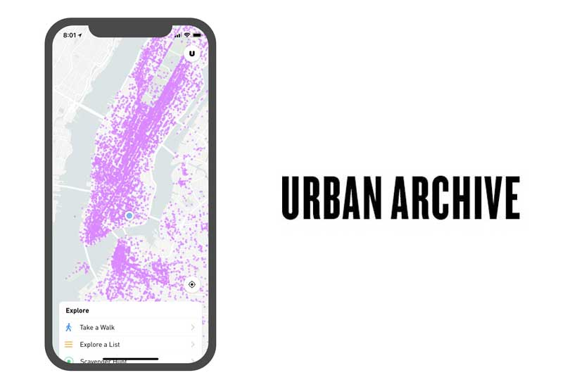 graphic with smart phone map and Urban Archive logo