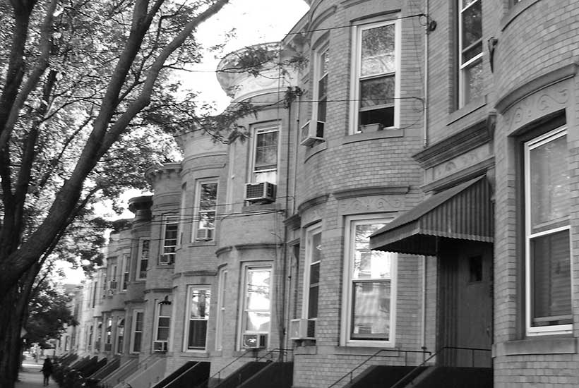 brick row houses in Ridgewood, Queens