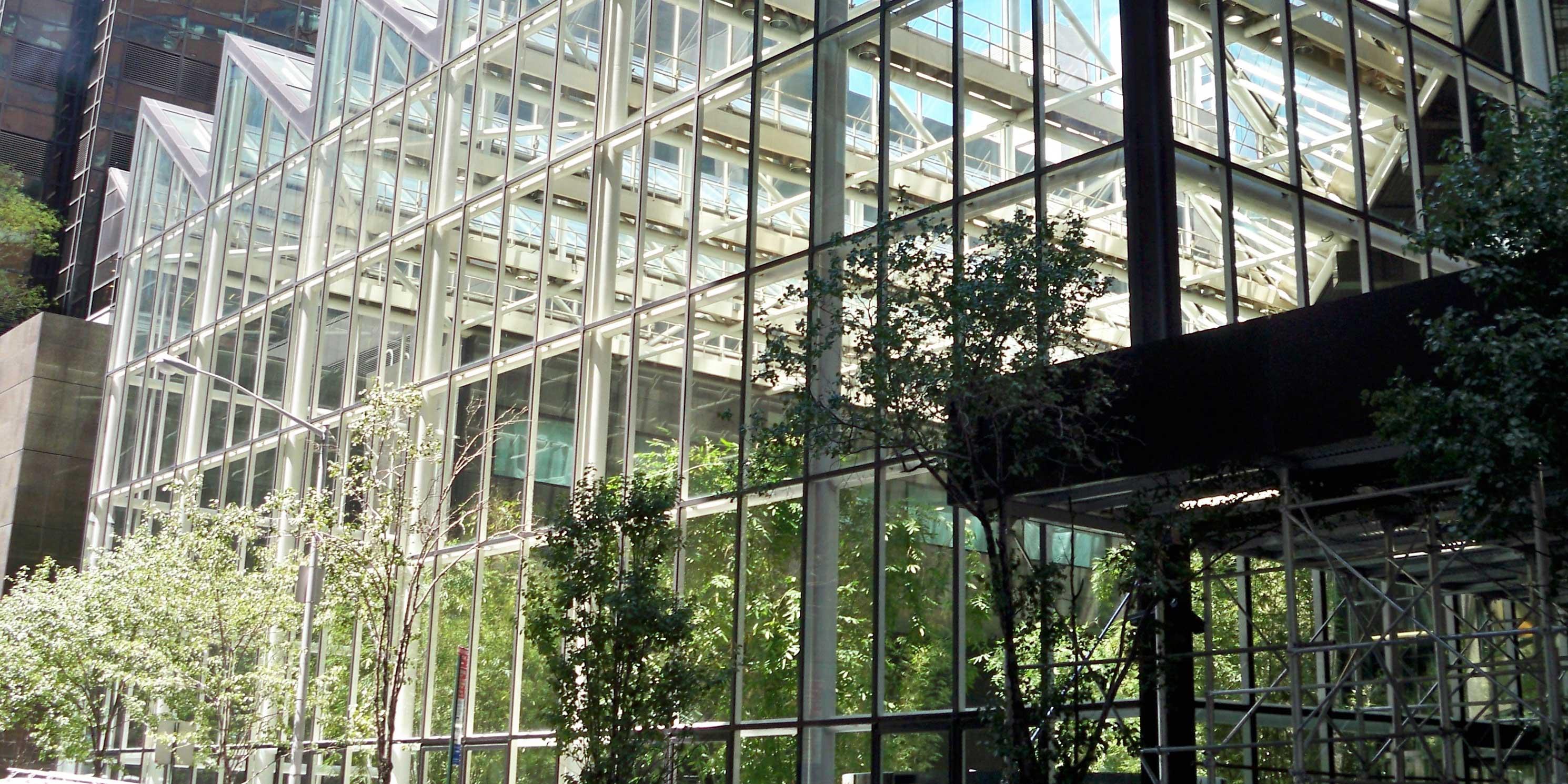 outside of IBM Building atrium in Manhattan