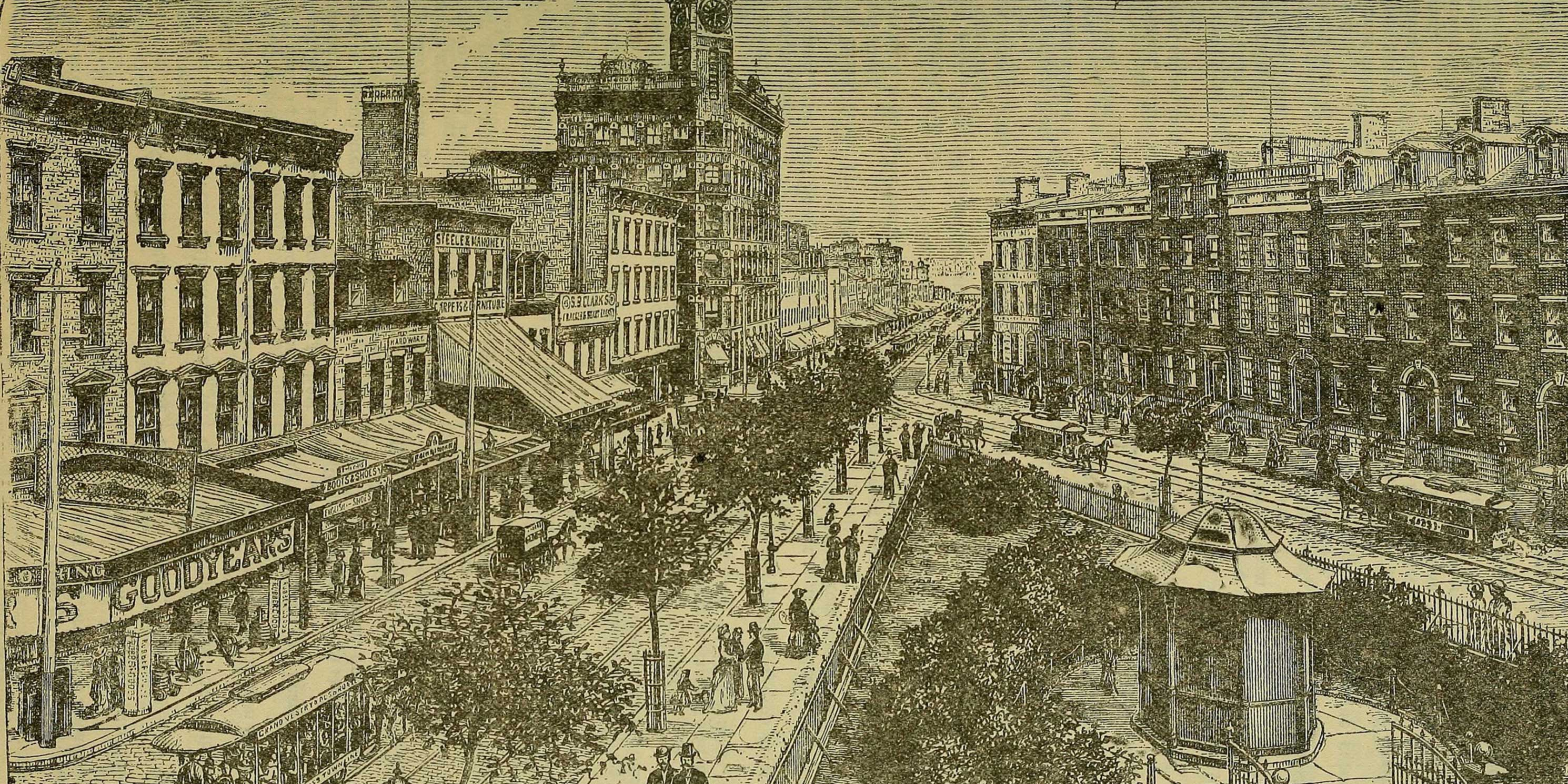 drawing of Greenwich Village streets in 1884
