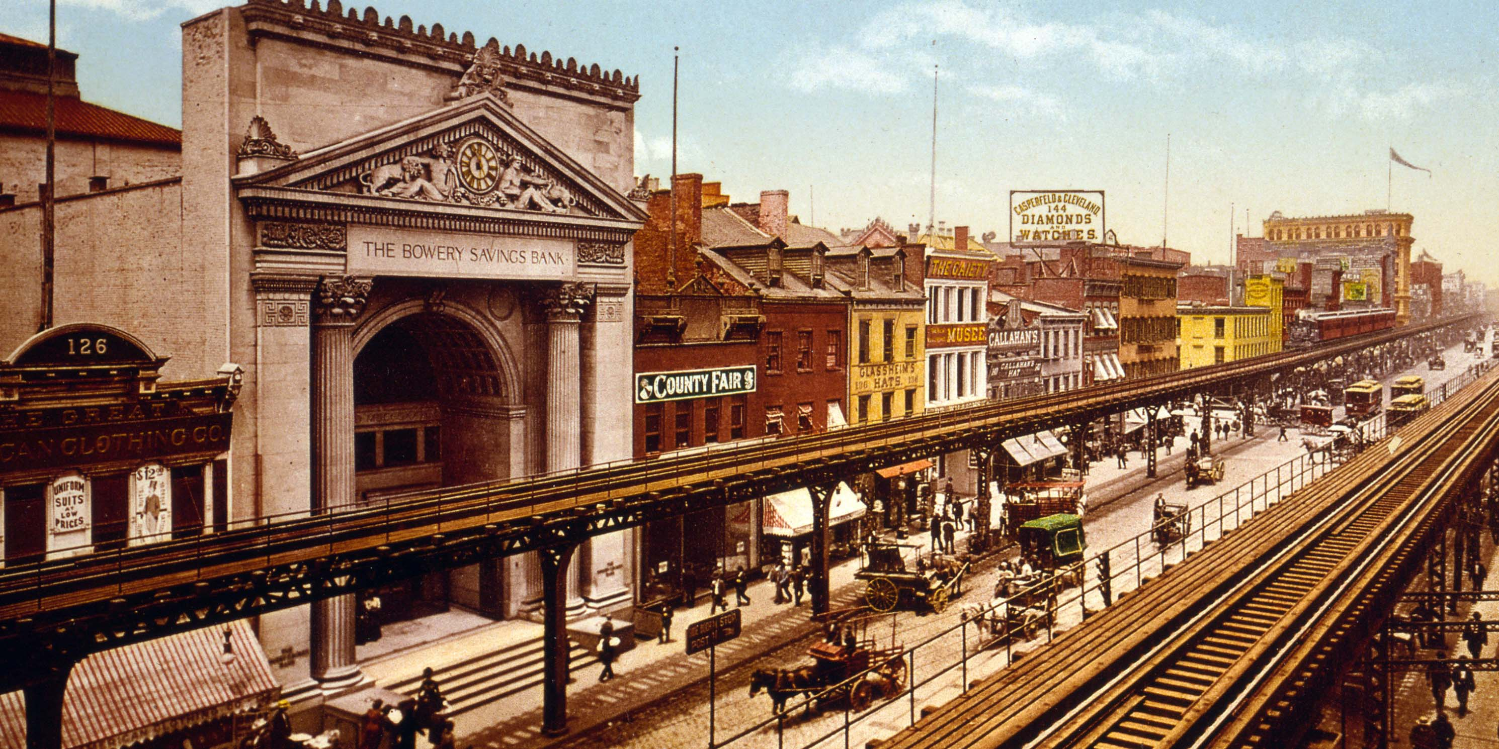 Colorized print of the Bowery around 1900.