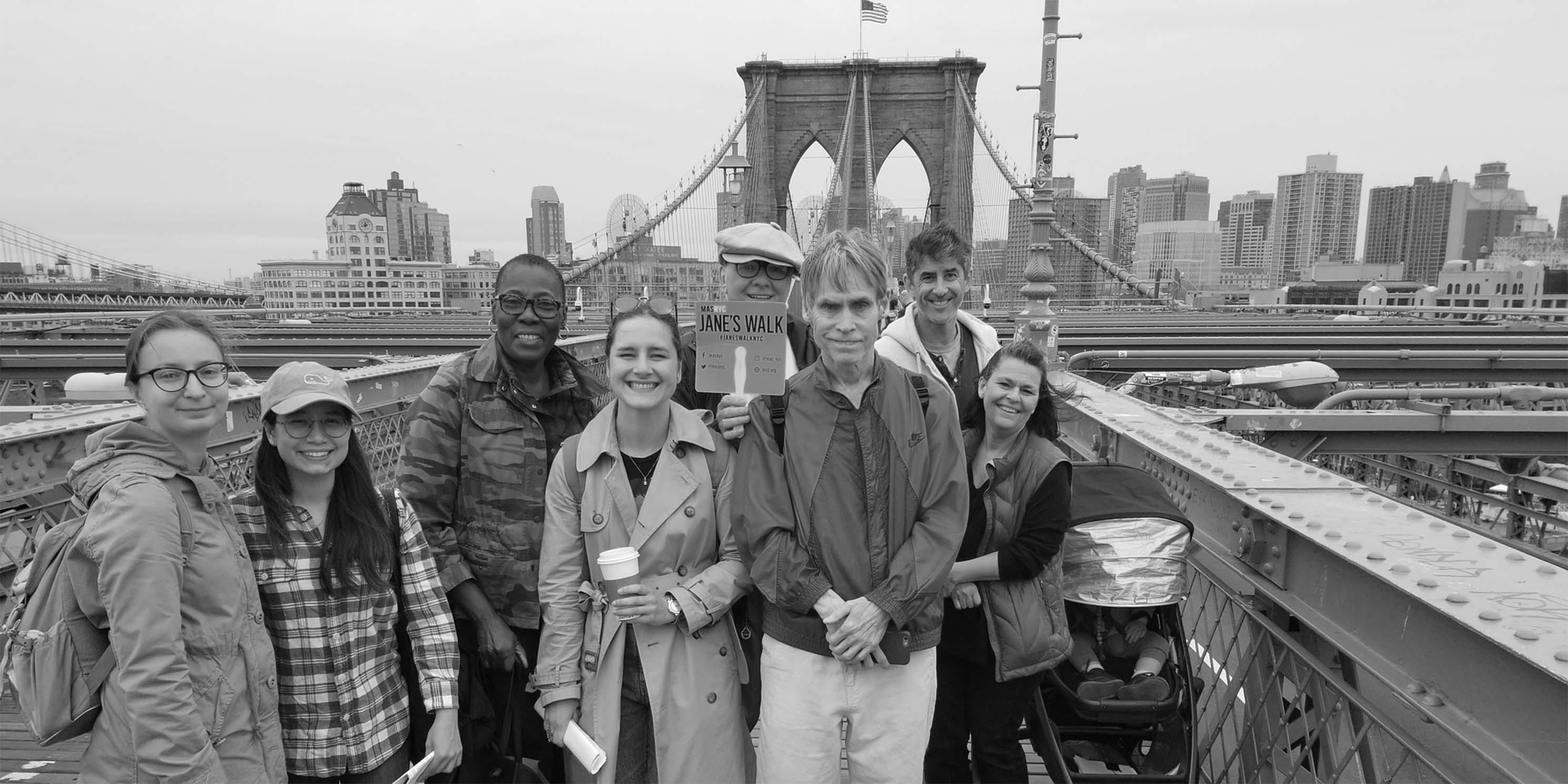 Jane's Walk participants on the Brooklyn Bridge