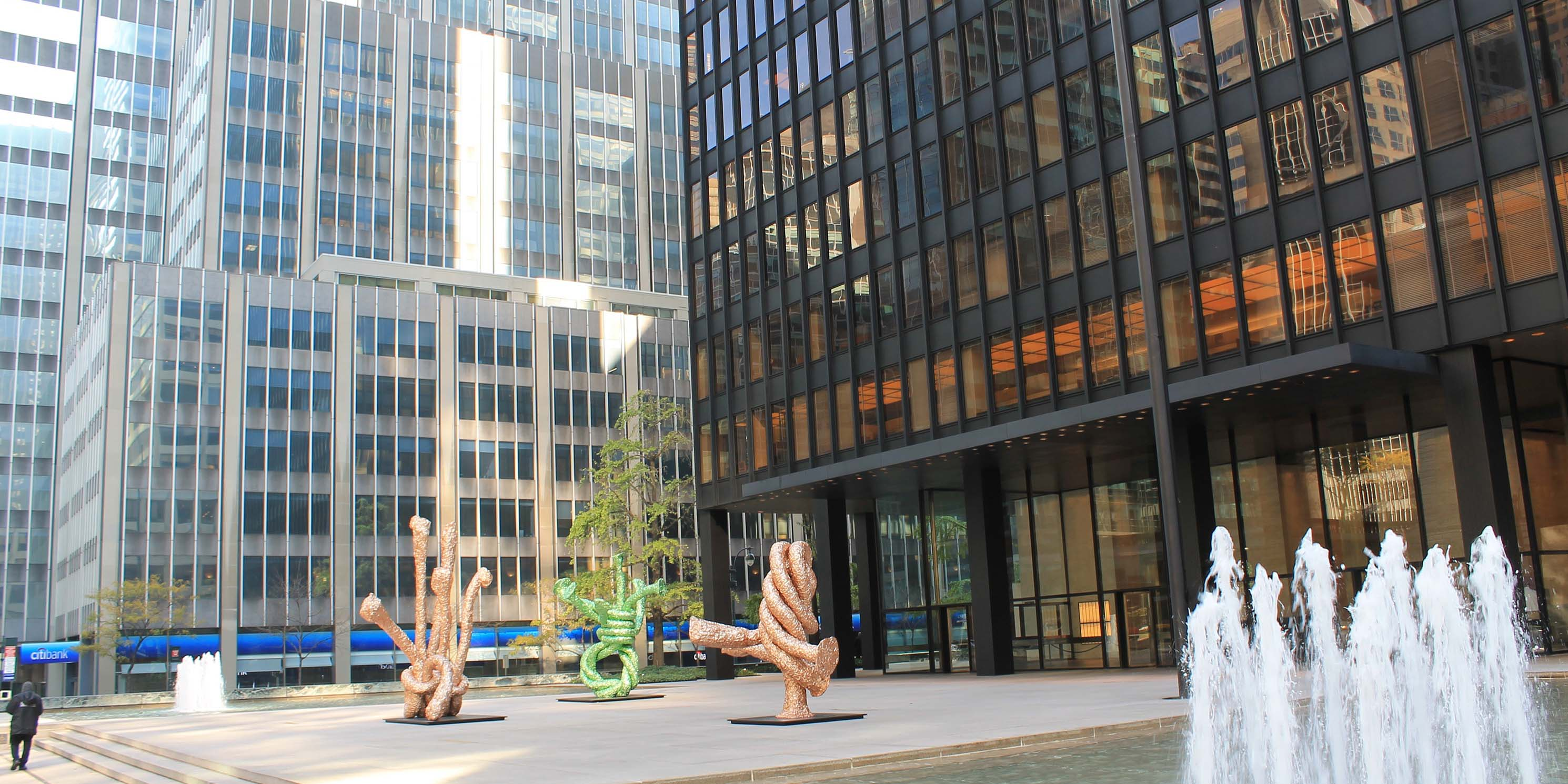 Exterior of the Seagram Building with fountain outside