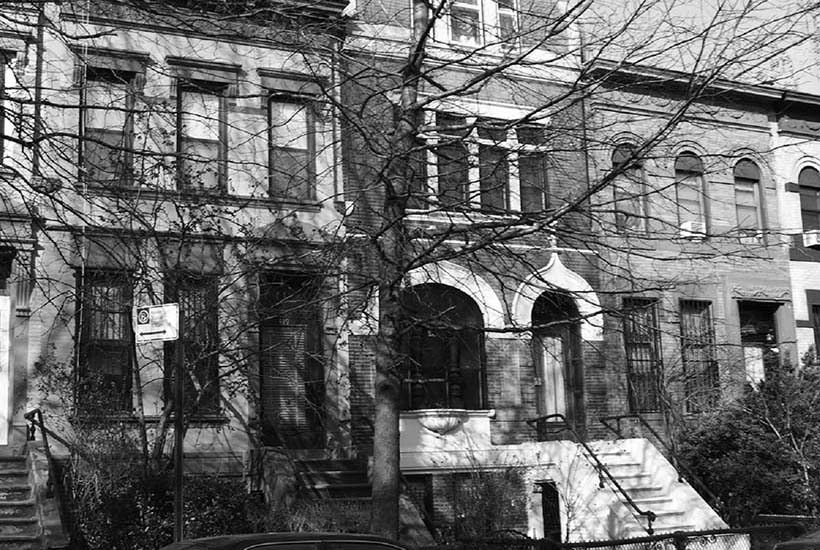 Exterior of rowhouses in South Bronx