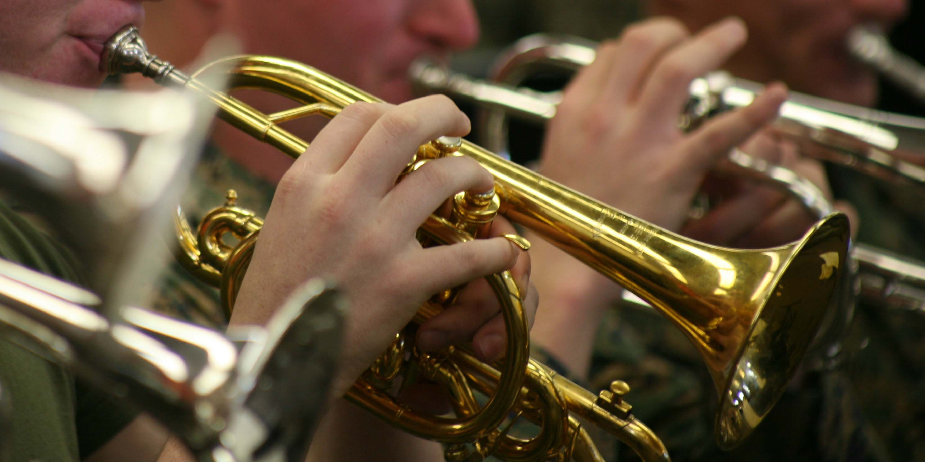 Members of the 2nd Marine Aircraft Wing Band rehearse