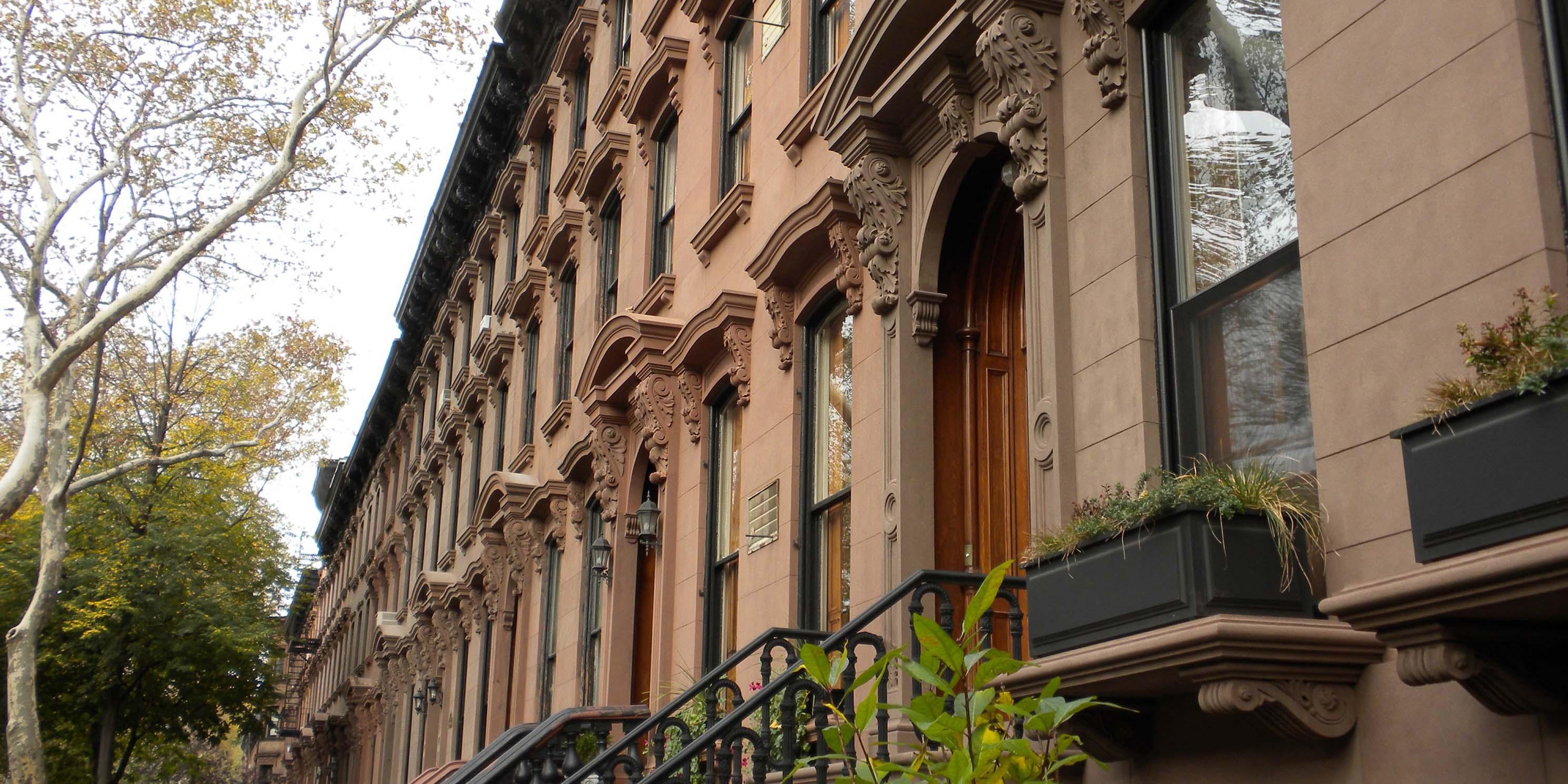 Exterior of brownstones in Fort Greene, Brooklyn