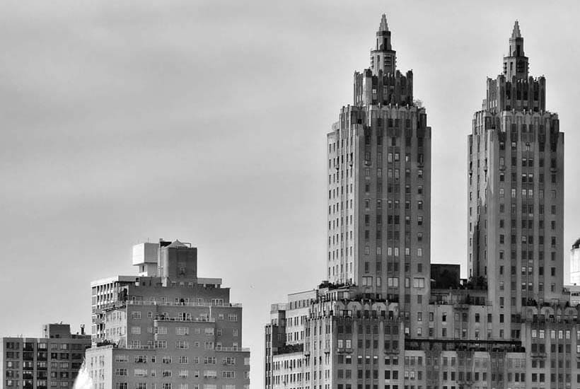 Buildings on Central Park West, as seen from Central Park