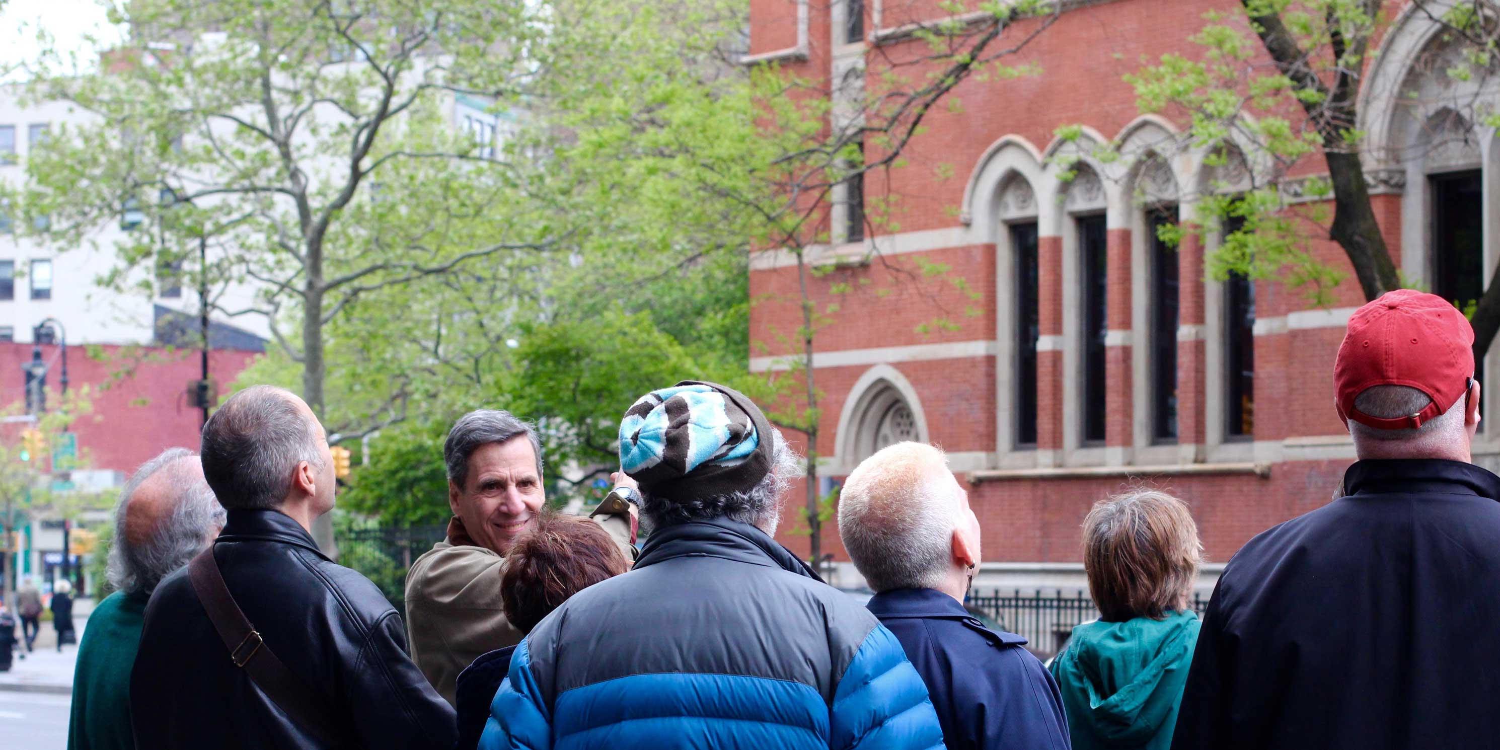 group of Jane's Walk attendees outside the Jefferson Market Library