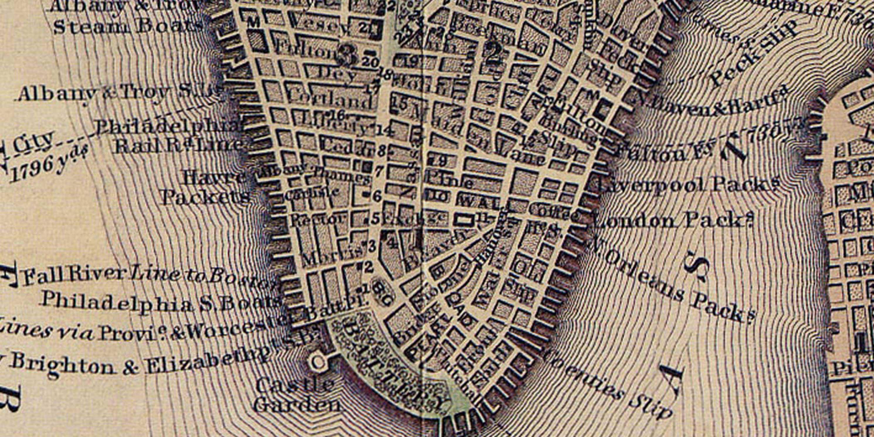 archival map of Lower Manhattan
