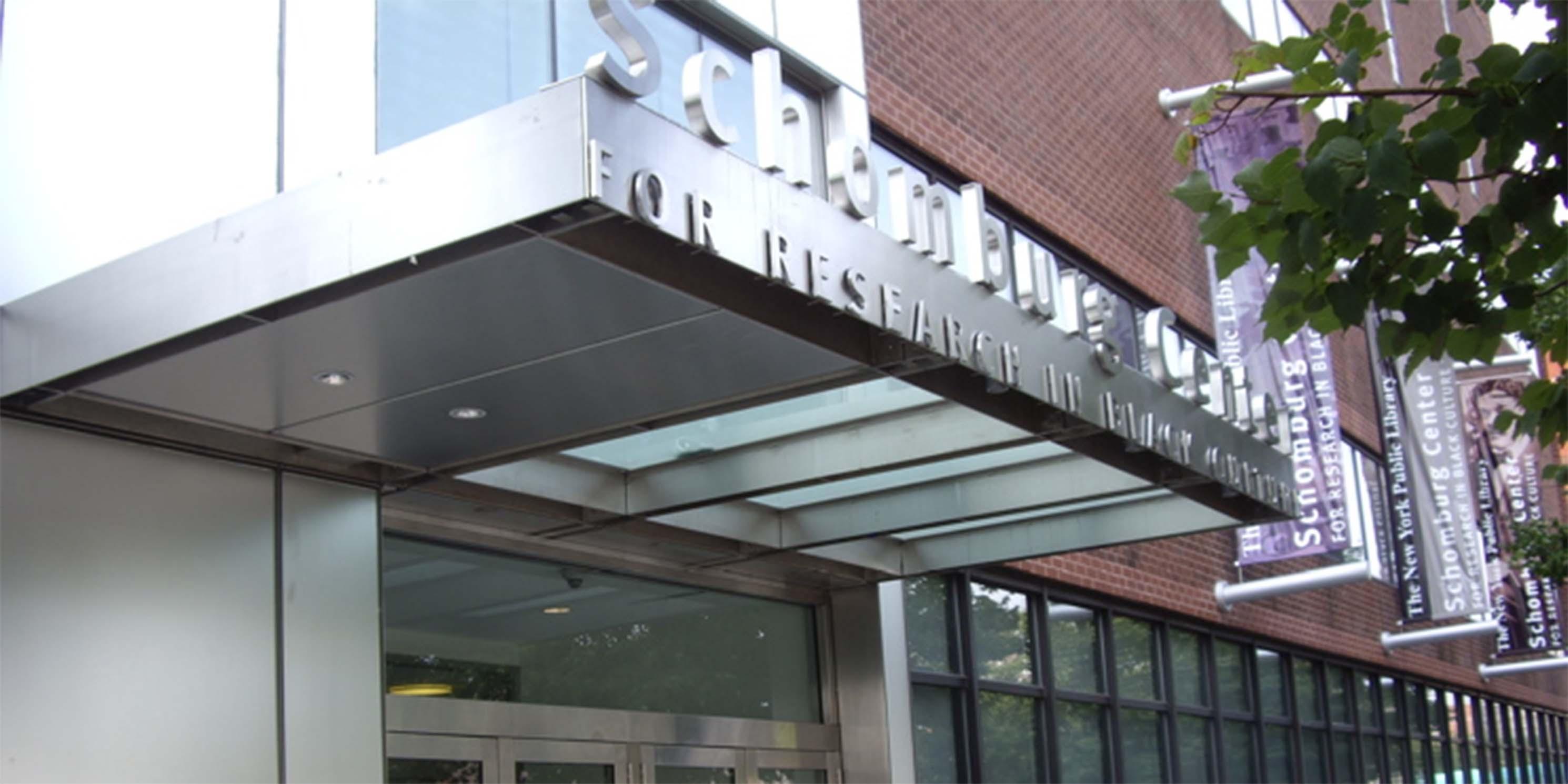 entrance to the Shomburg Center in Harlem
