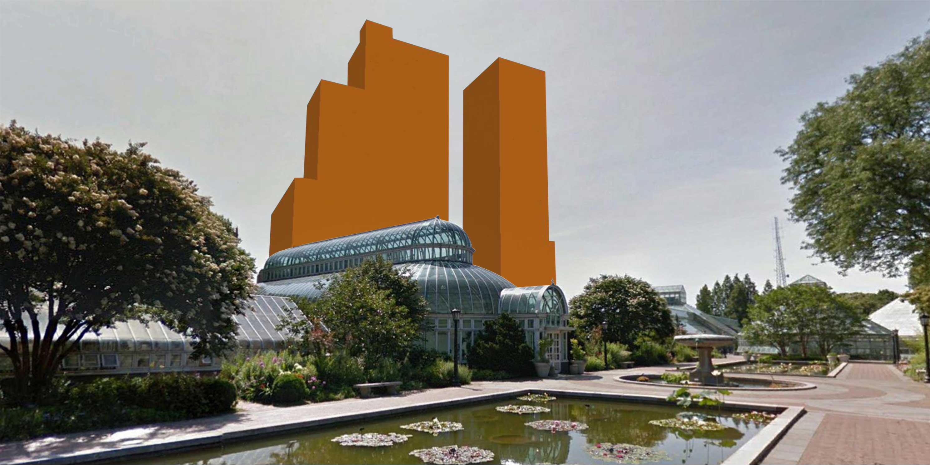 Conservatory at the Brooklyn Botanic Garden with proposed super-tall buildings at 960 Franklin Avenue in background