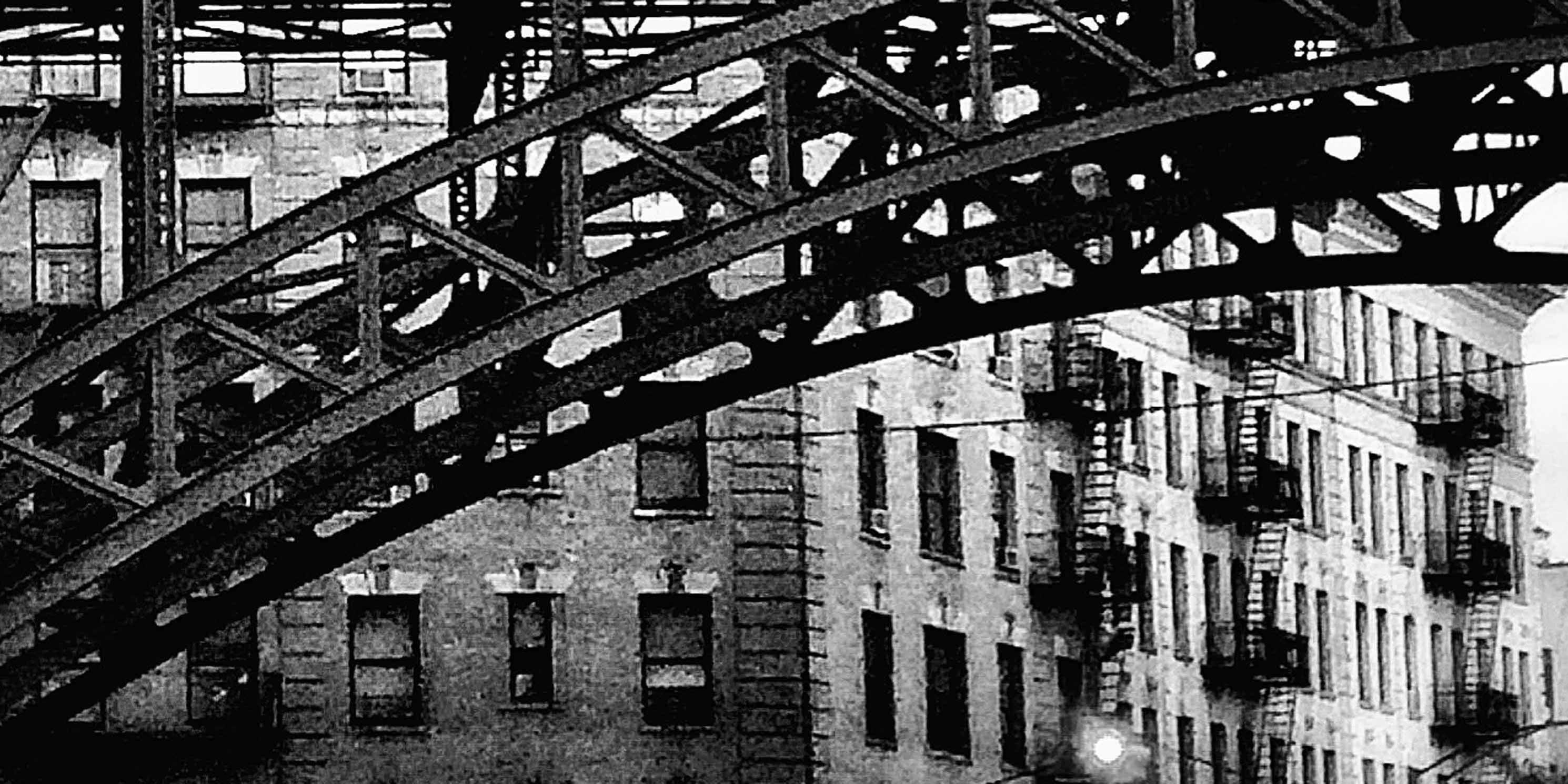 metal arched subway bridge in Manhattanville