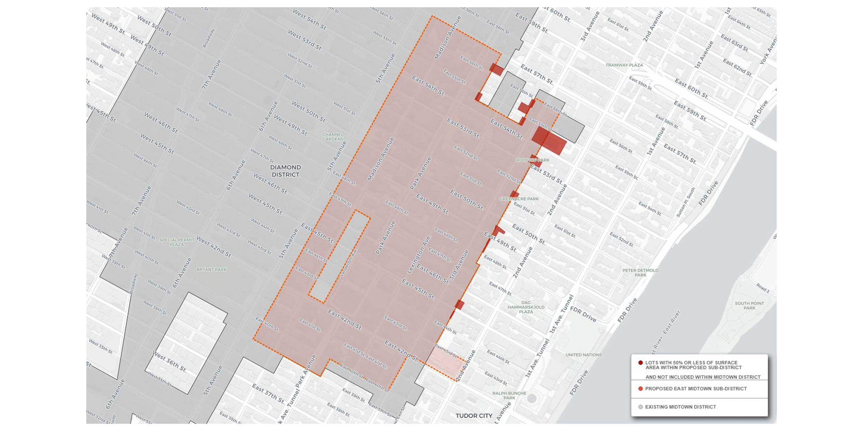 map of properties With Less Than 50 Percent Lot Area Within Proposed East Midtown Subdistrict