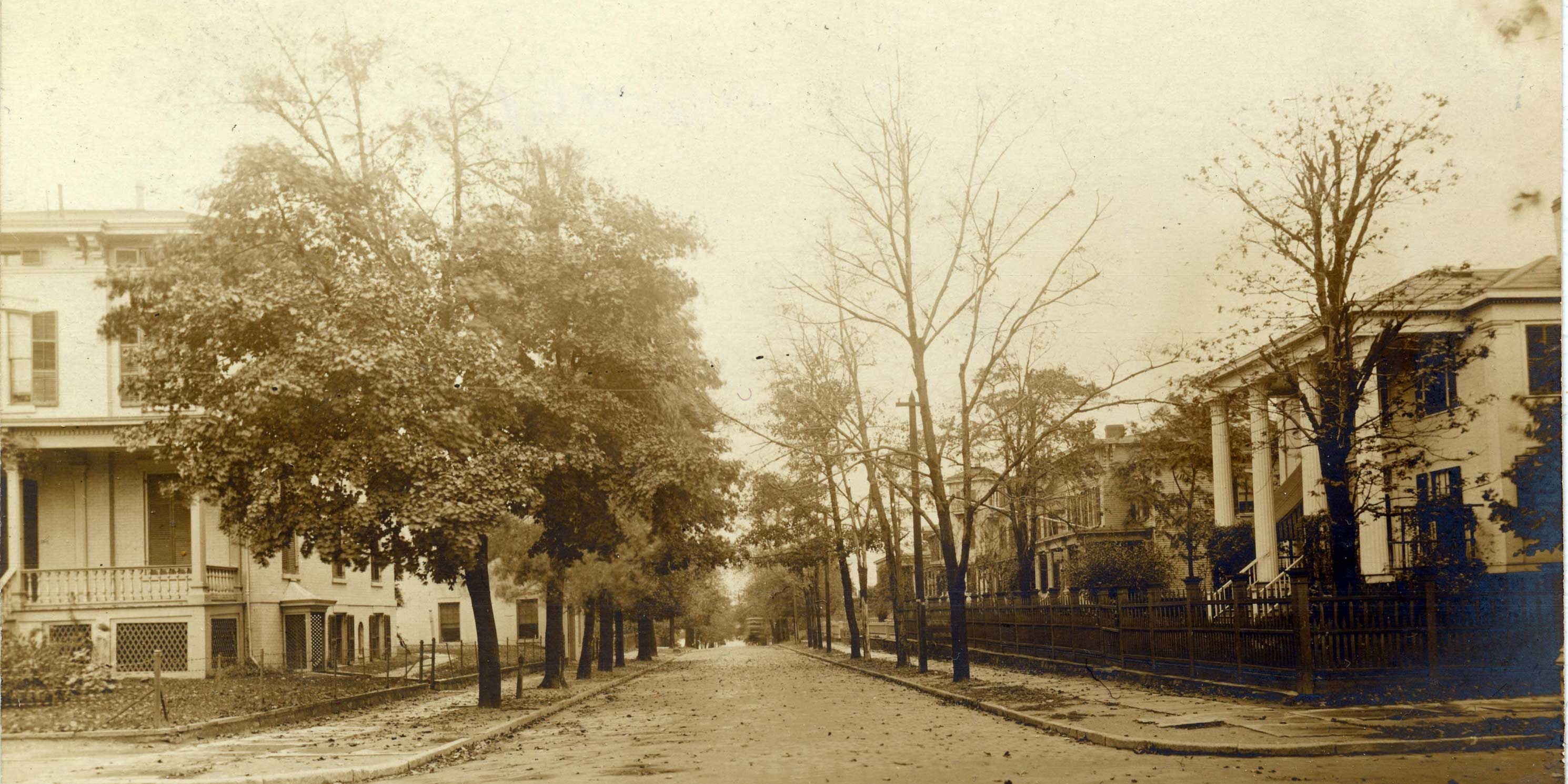 archival photo of street in Old Astoria Village