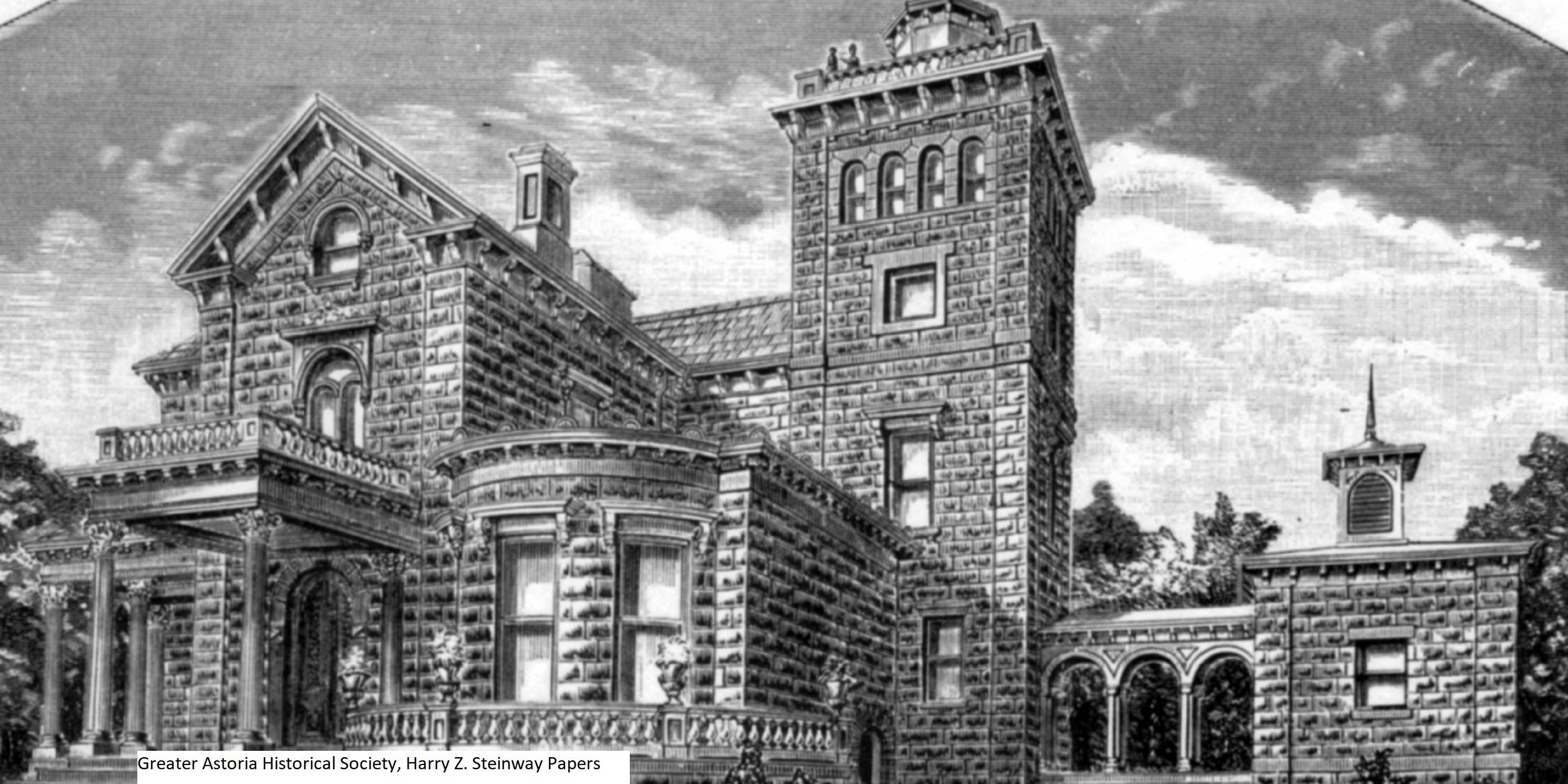 illustration, exterior of the Steinway Mansion