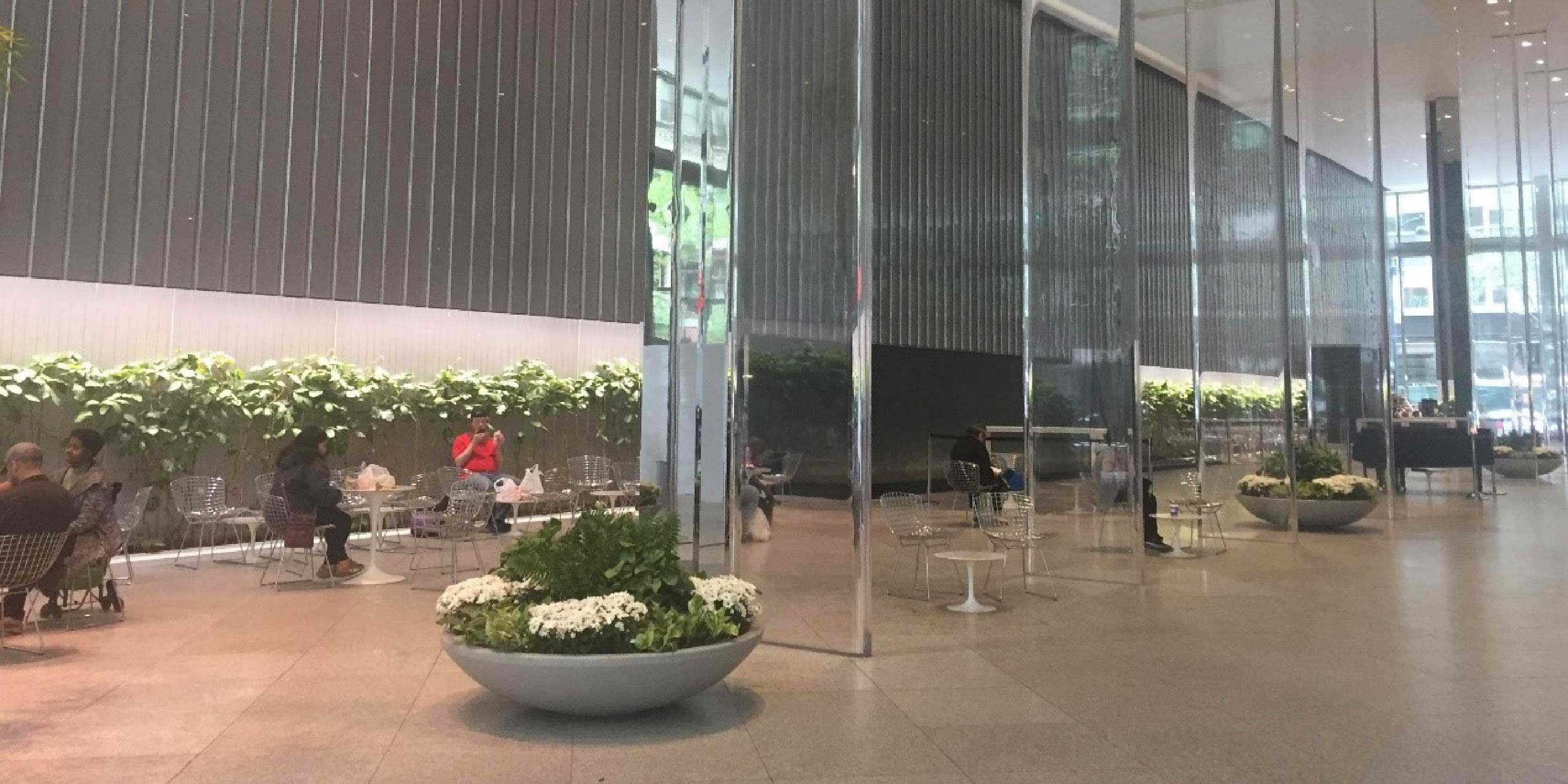 the public space in the lobby of the Blackrock building