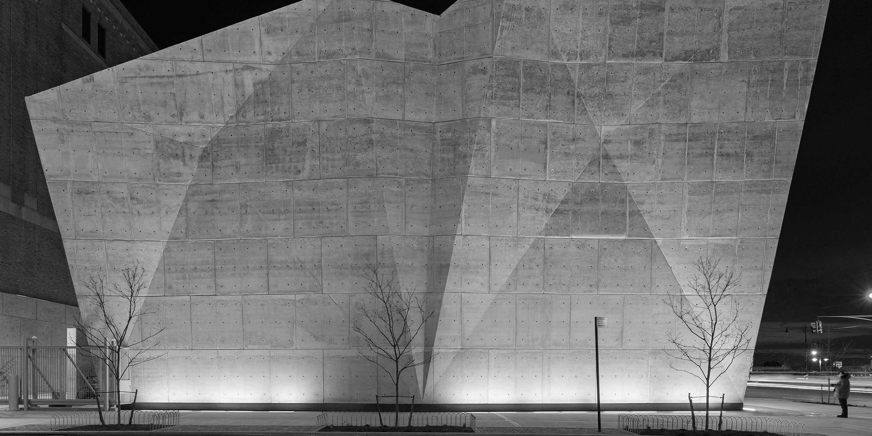 Exterior of the Salt Shed garage at night