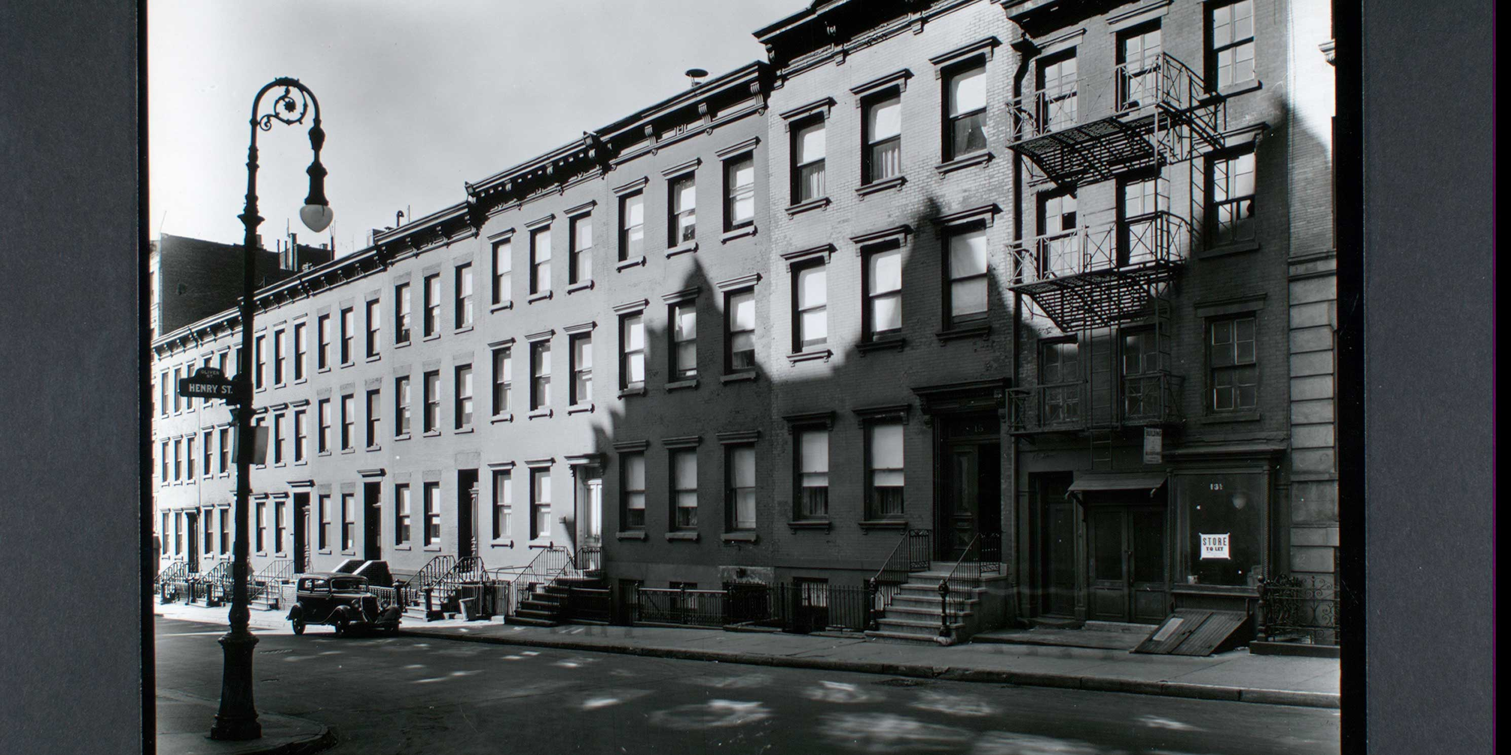 archival photo of buildings on Oliver Street