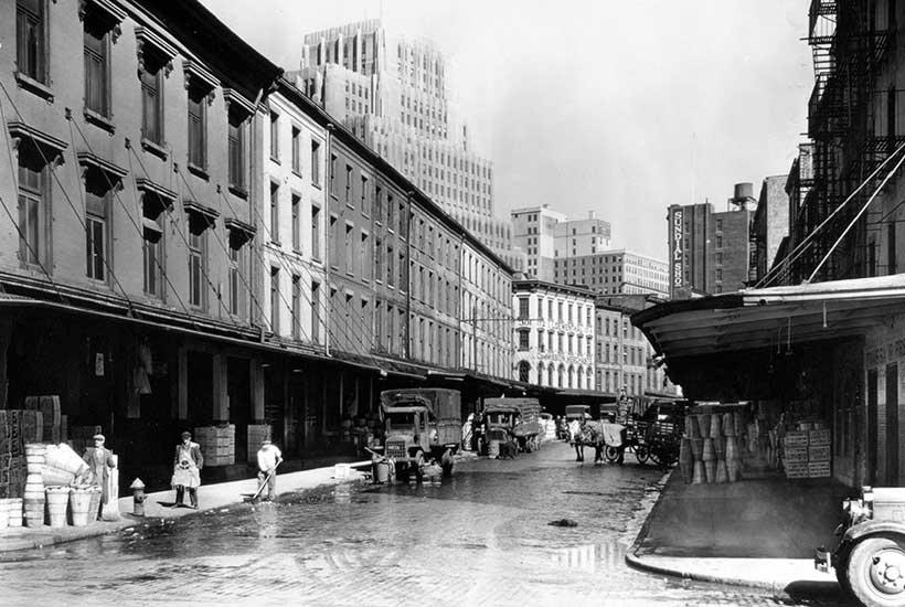 archival photo of warehouses on Reade Street