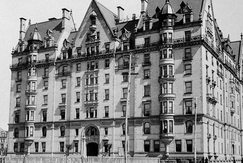 archival photo of the Dakota Building circa 1890
