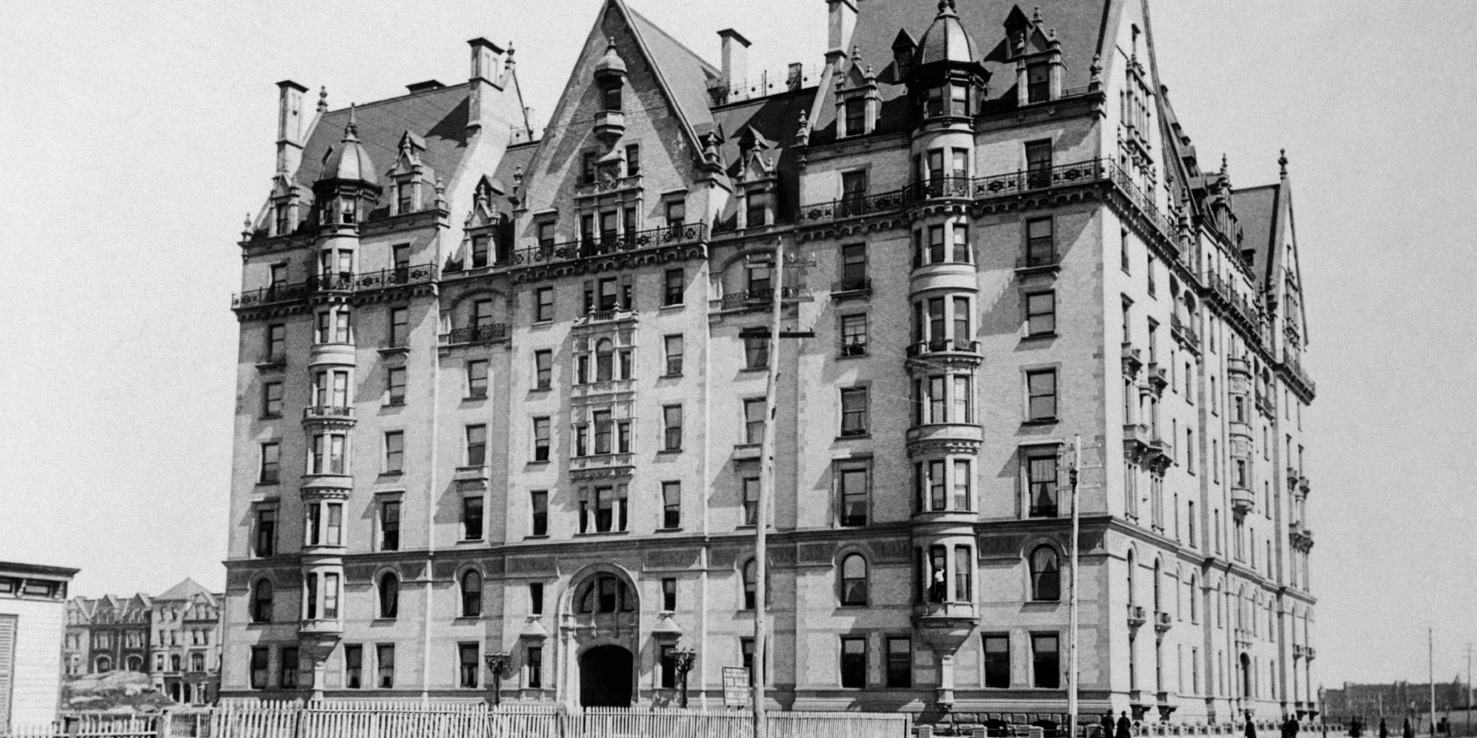 archival photo of the Dakota Building circa 1890