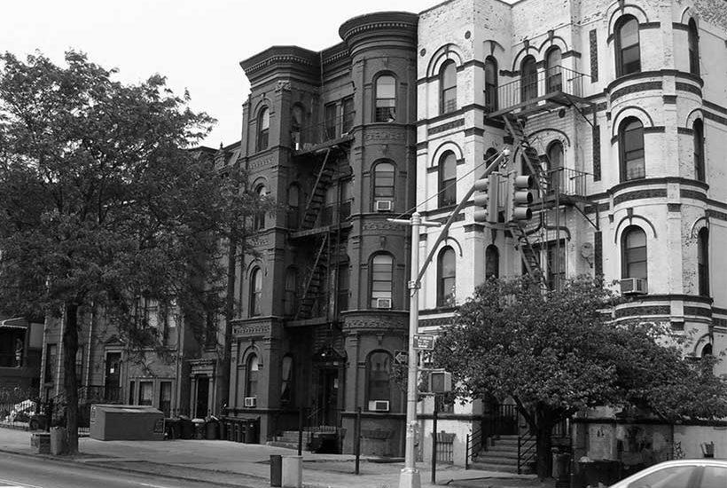 brownstone buildings on Bushwick Avenue