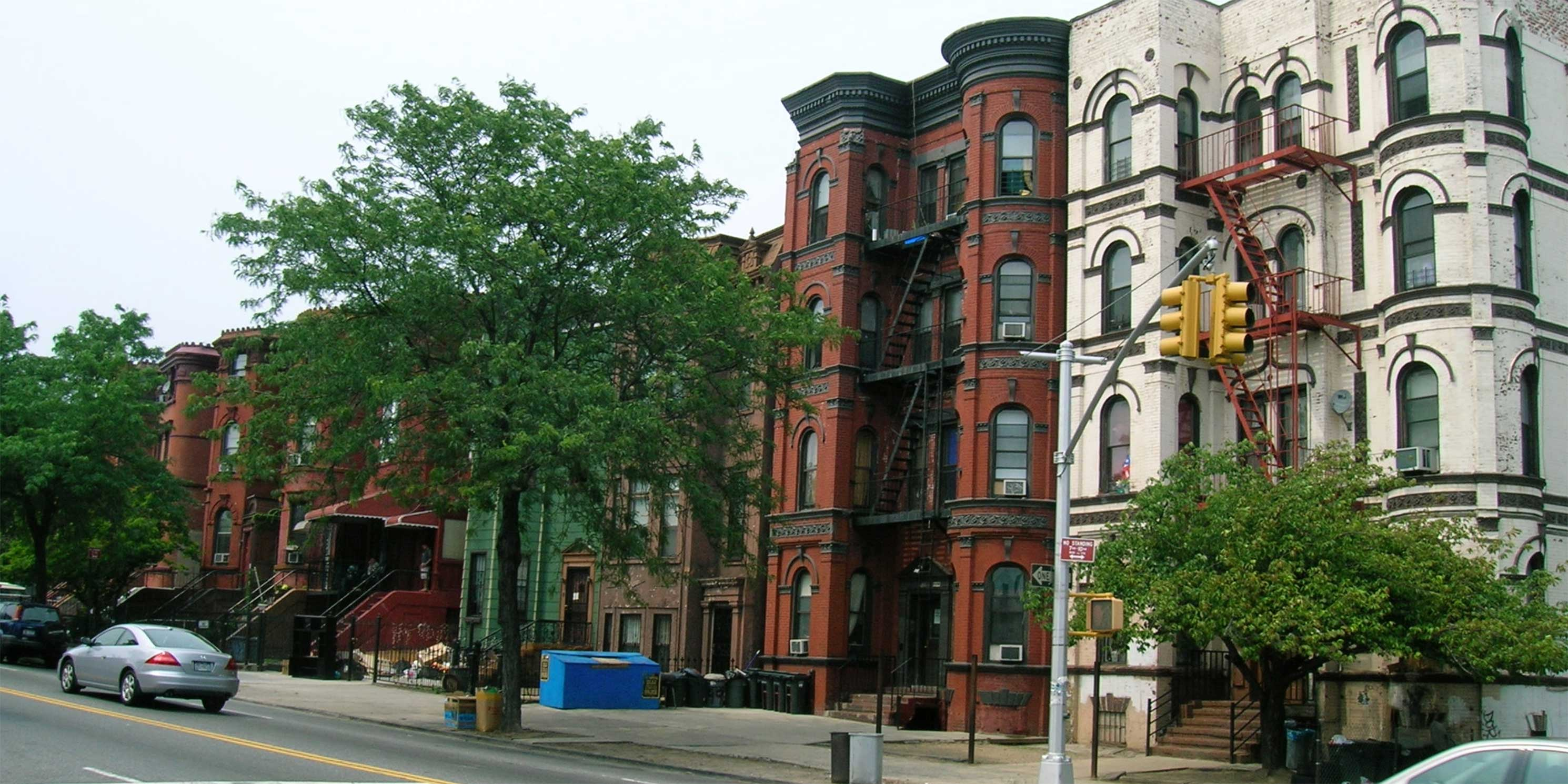 brownstone buildings on Bushwick Avenue