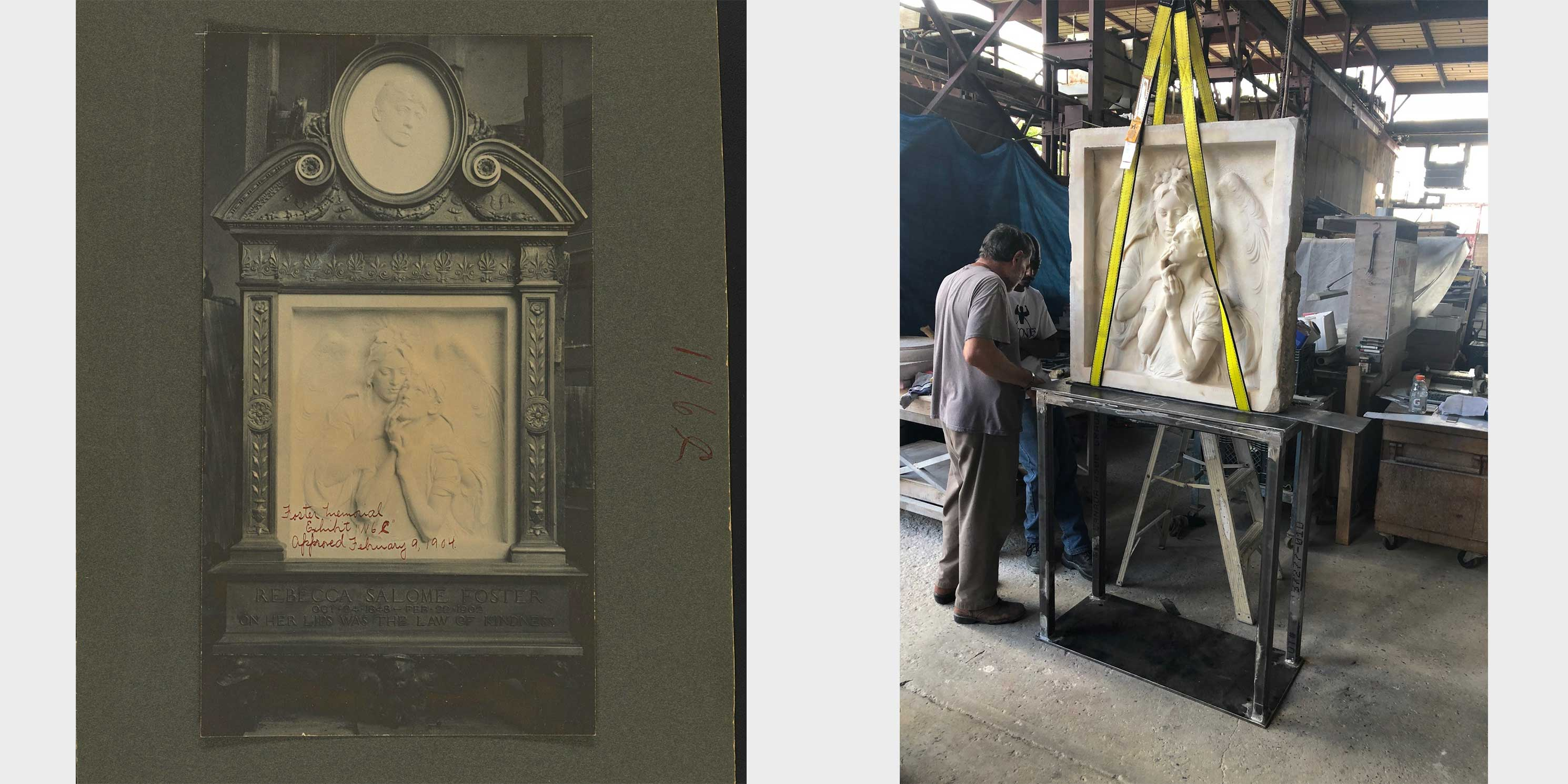 before and after restoration photos of the Rebecca Salome Foster Memorial