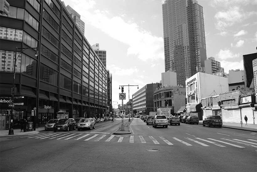 looking down Flatbush Avenue in Brooklyn