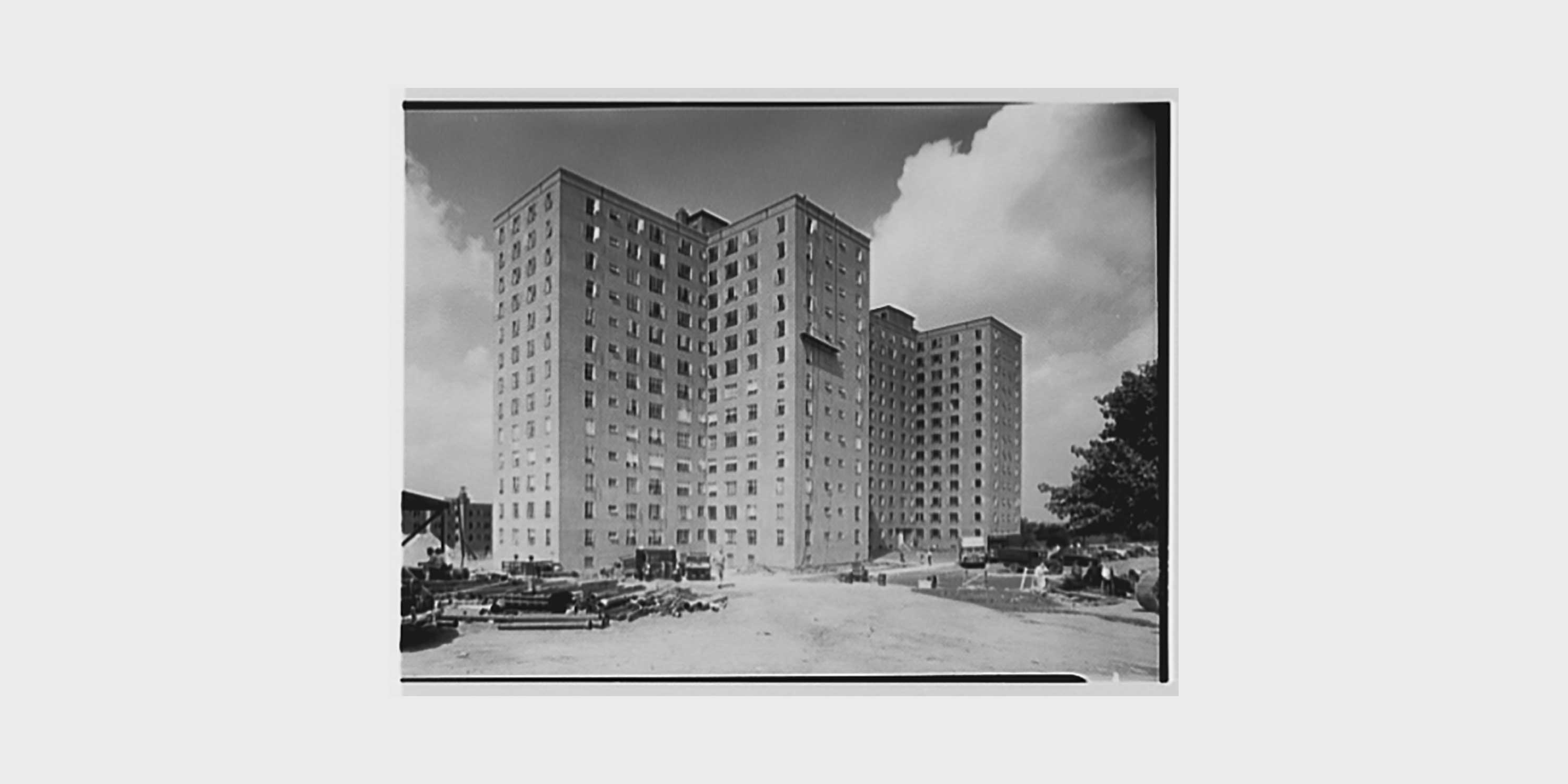 archival photo, Fresh Meadows Housing Development under construction