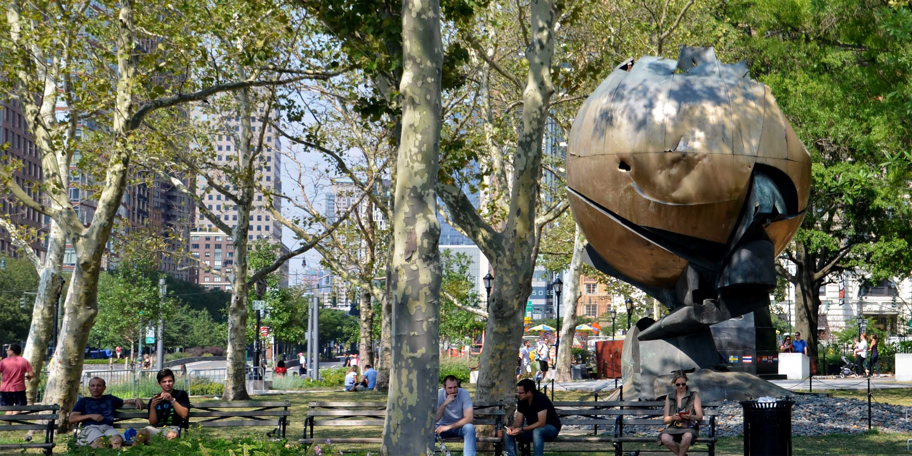 The Sphere, an outdoor sculpture in Battery Park
