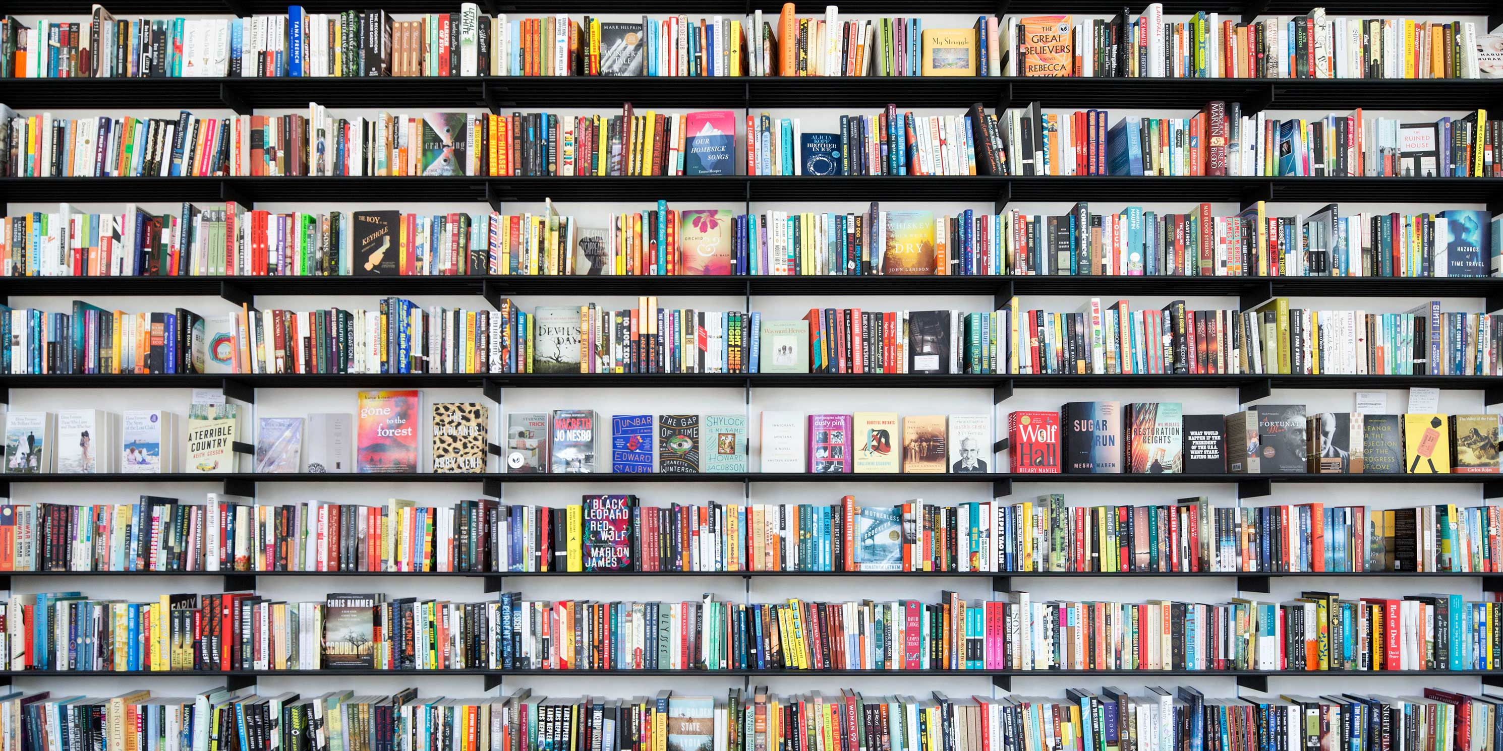 book shelves filled with books at the Center for Fiction in Brooklyn, New York