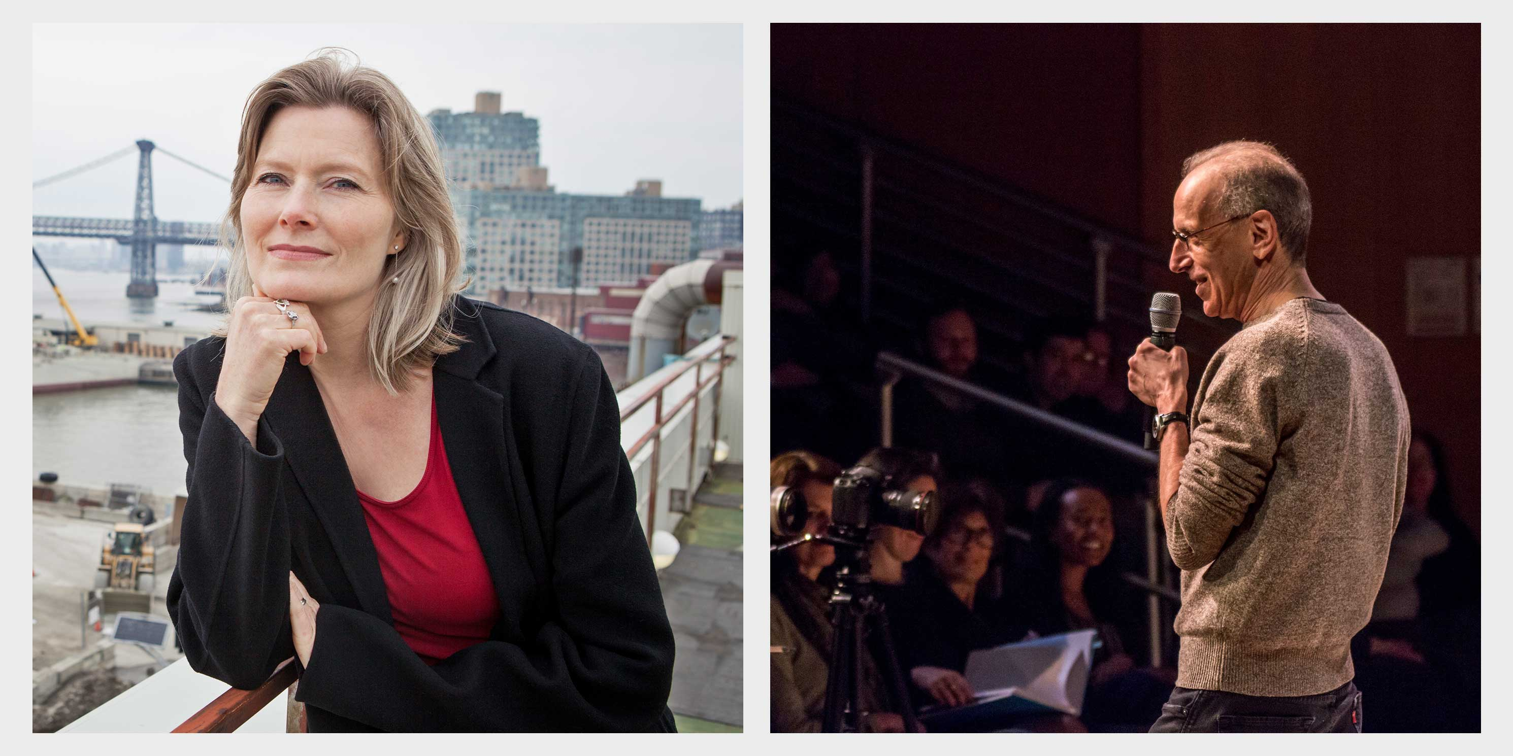 collage of photos: Jennifer Egan poses on a rooftop, Randy Cohen speaks on stage