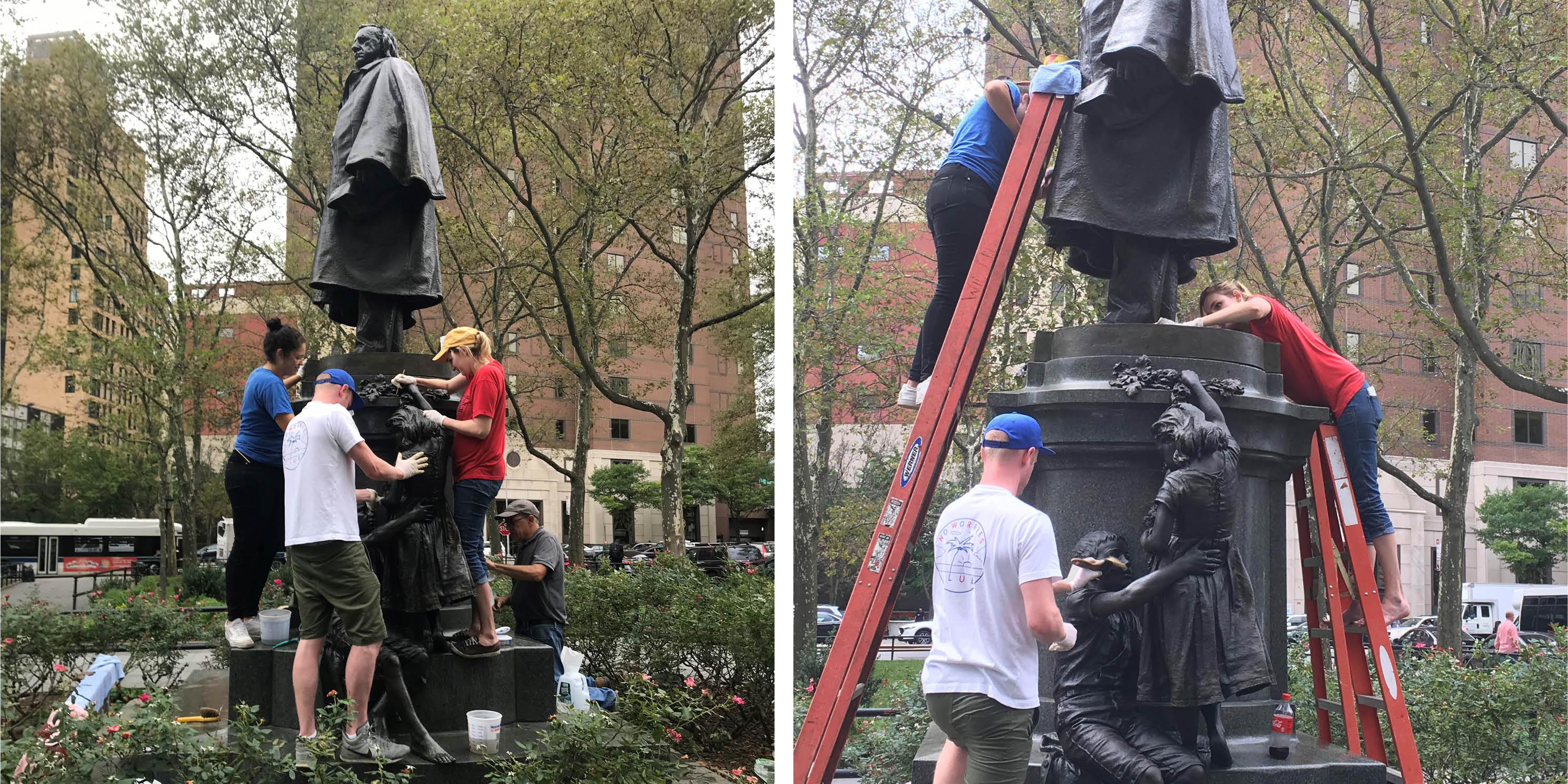 workers restoring the Henry Ward Beecher Monument in Brooklyn