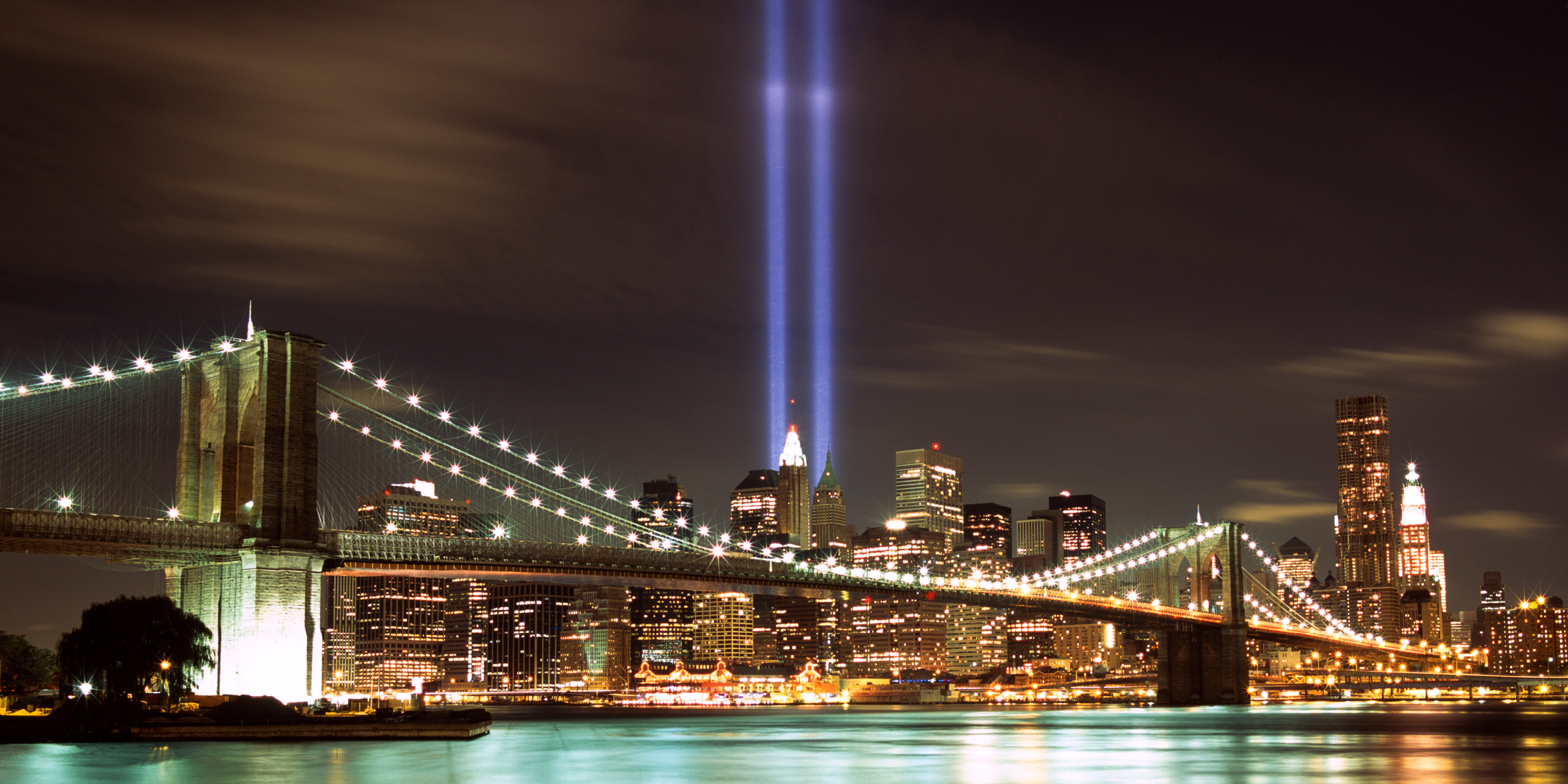 Tribute in Light spotlights illuminate the sky for September 11th anniversary