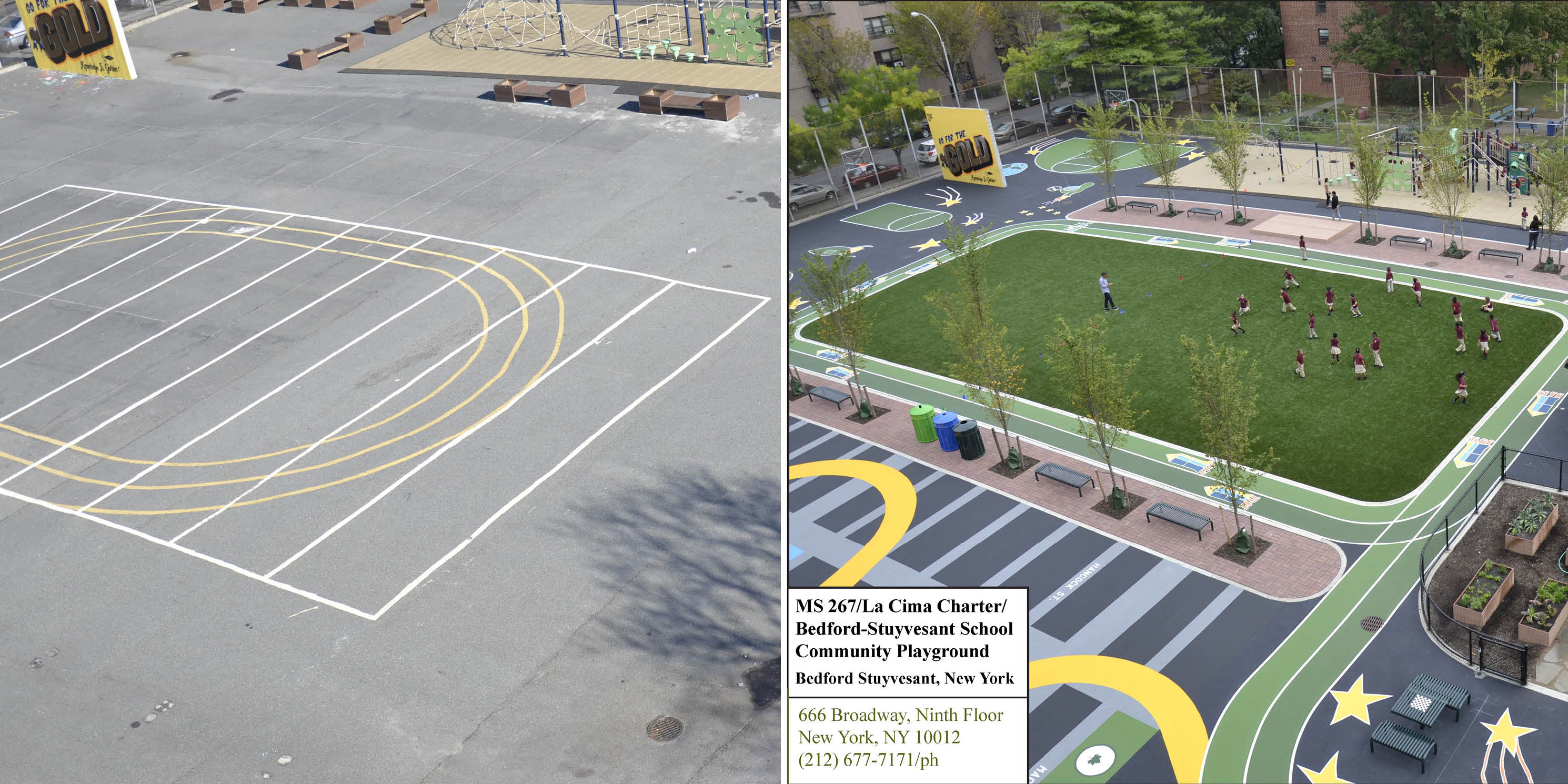 renderings of playground fields with asphalt and astro-turf