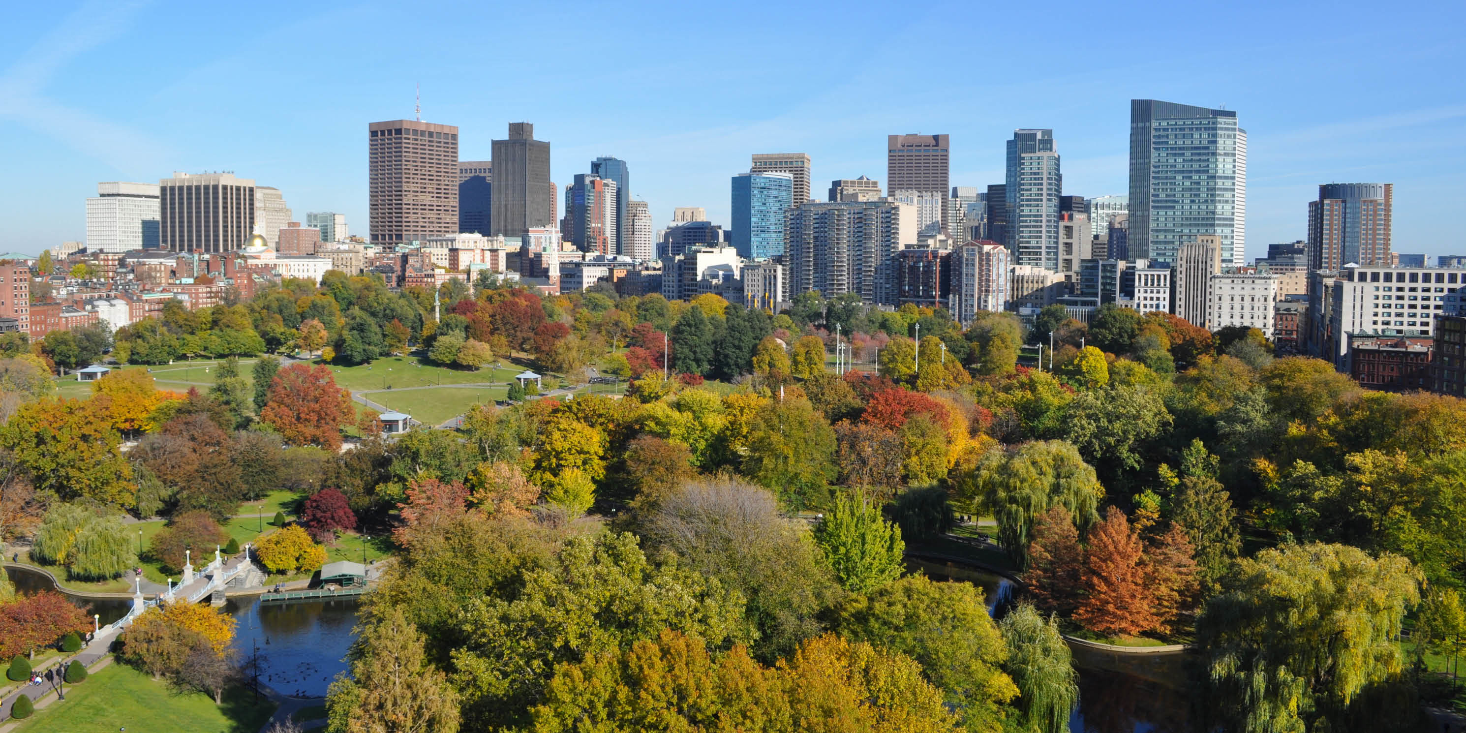 high angle view overlooking Boston Common