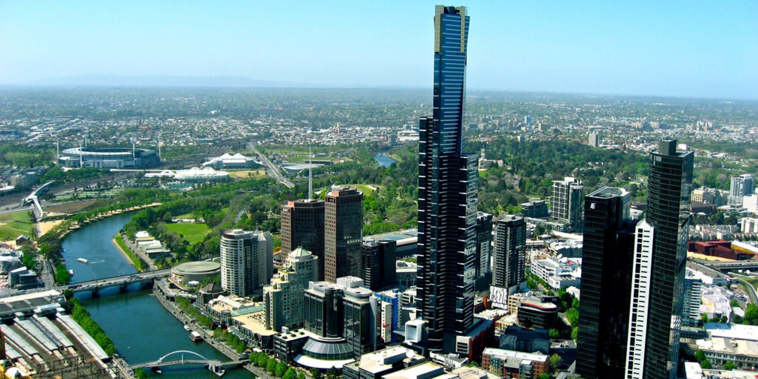 aerial view of tall, modern skyscrapers in Melbourne