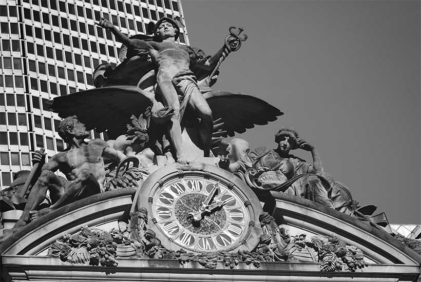 ornate clock on the exterior of Grand Central Terminal