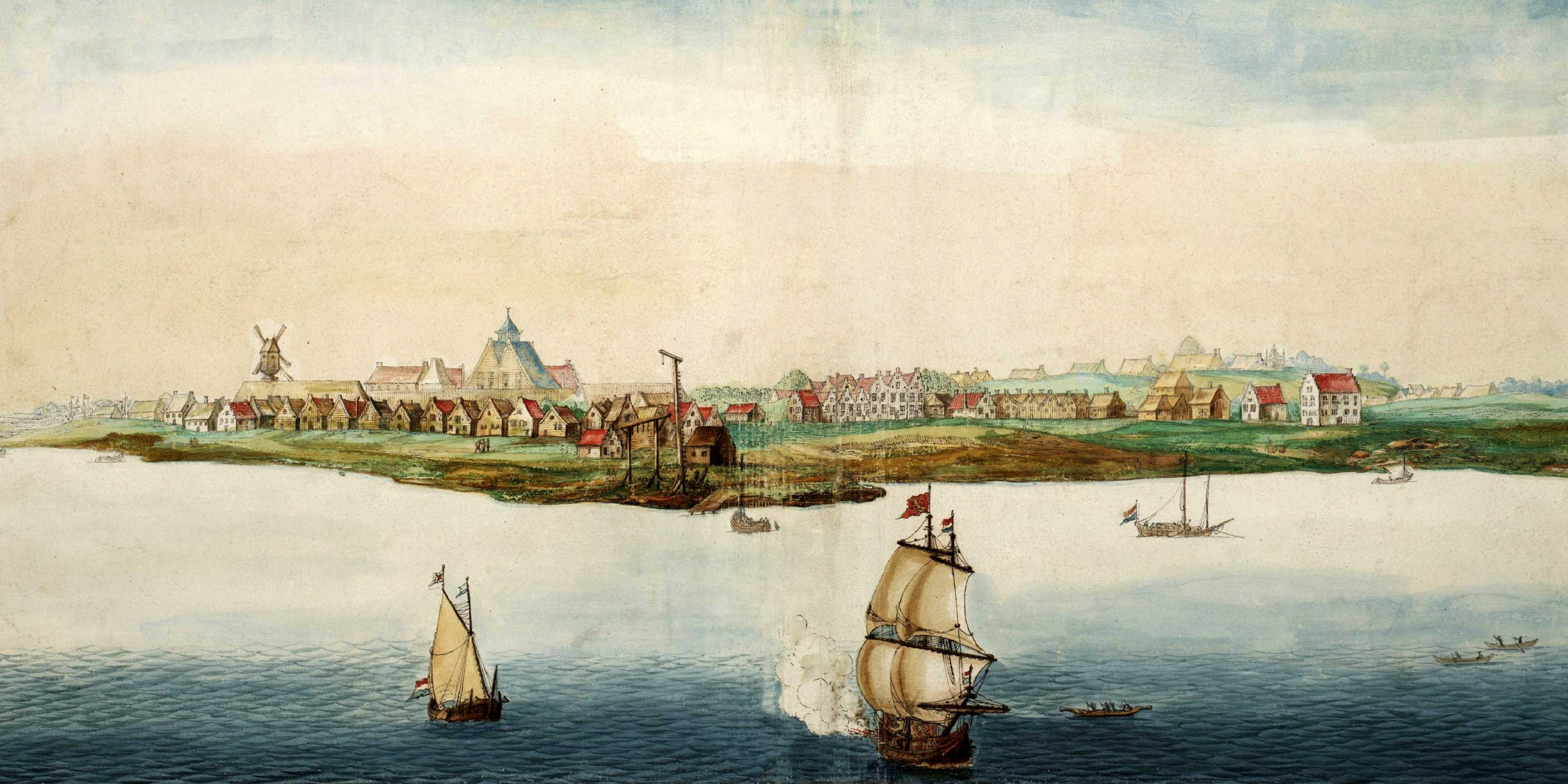 painting of sailing ships along the New Amsterdam coastline